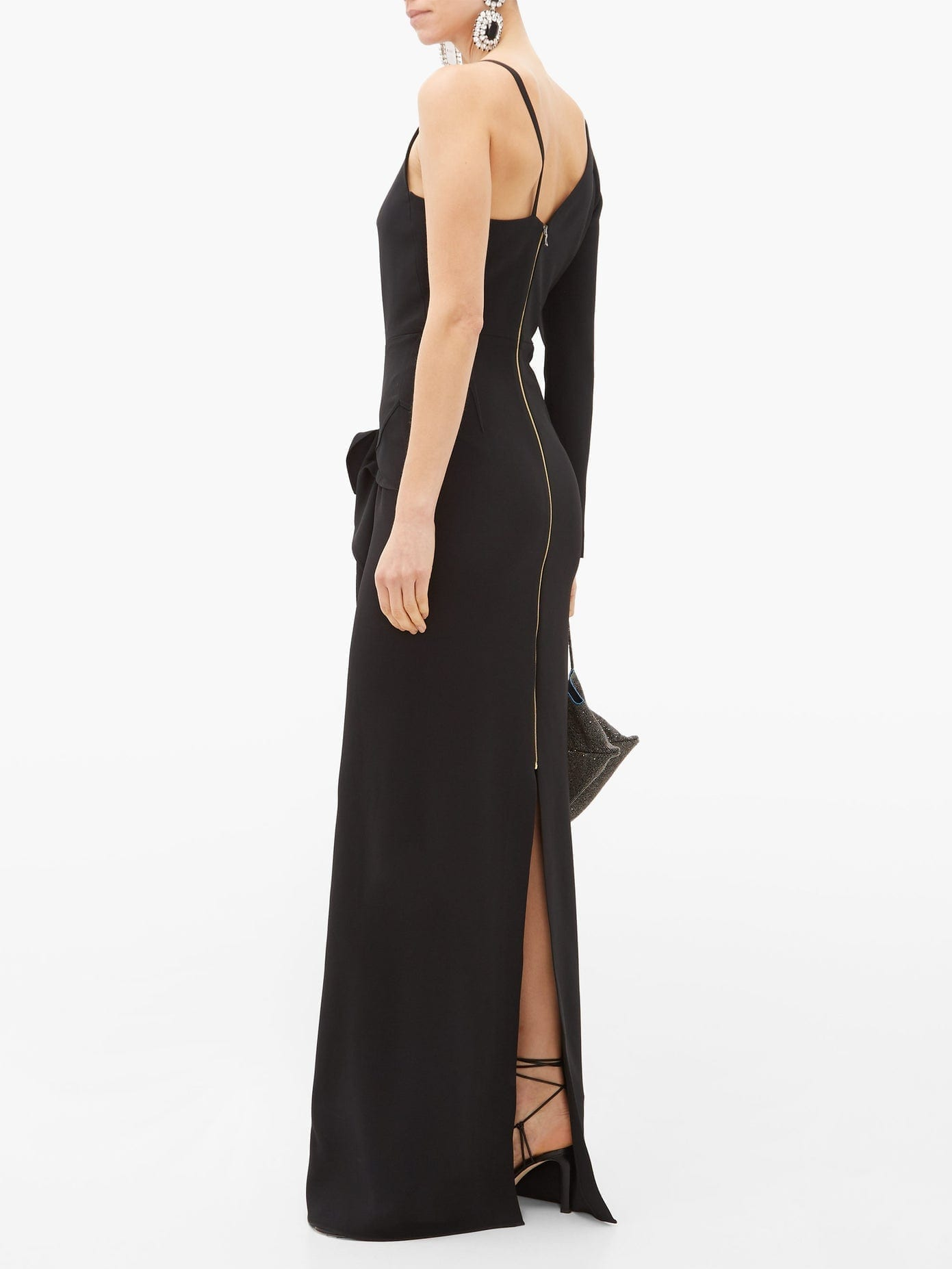 ROLAND MOURET Delamere One-sleeve Cady Maxi Dress