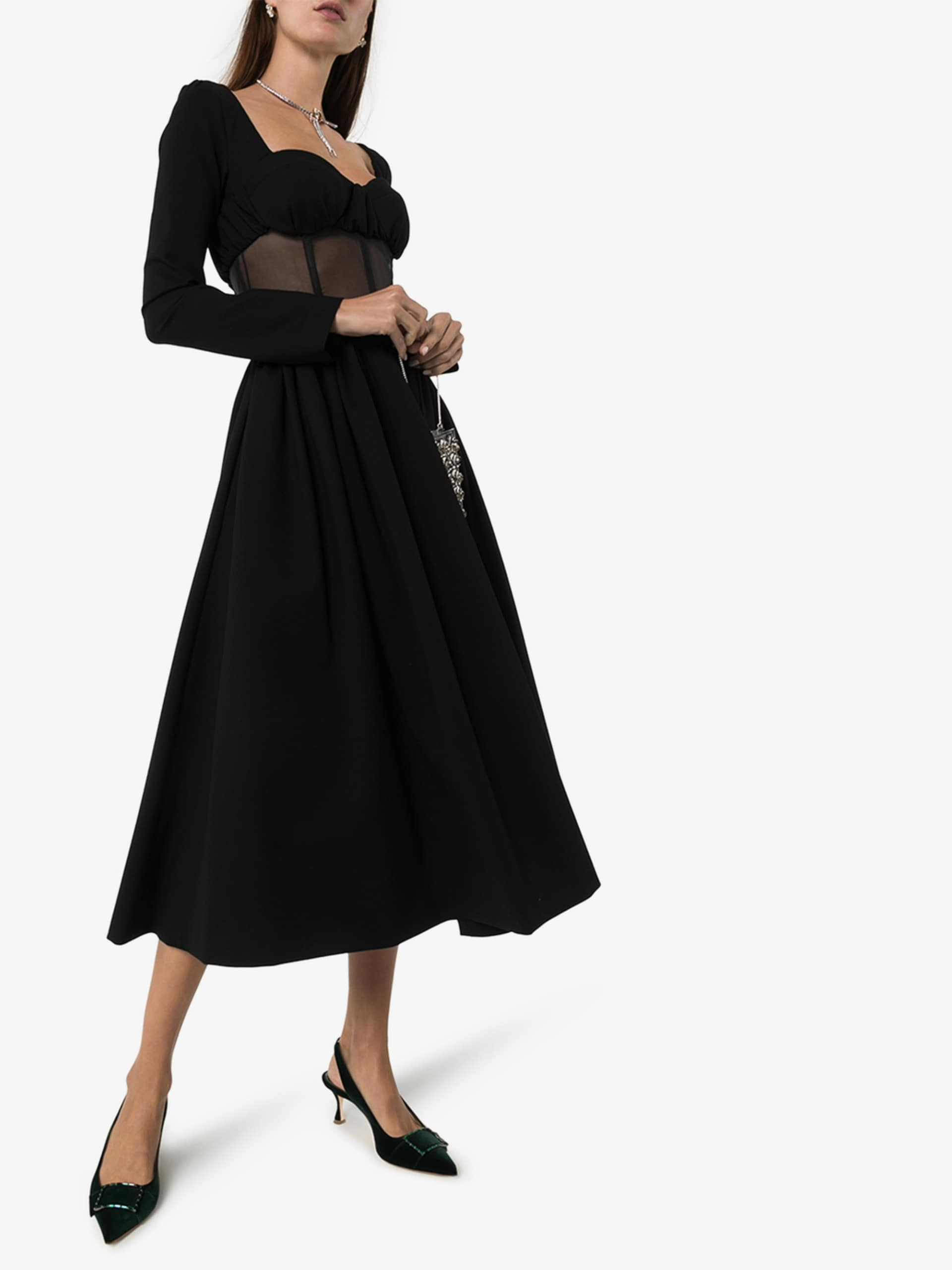 ROSIE ASSOULIN Sheer Bodice Silk Midi Dress