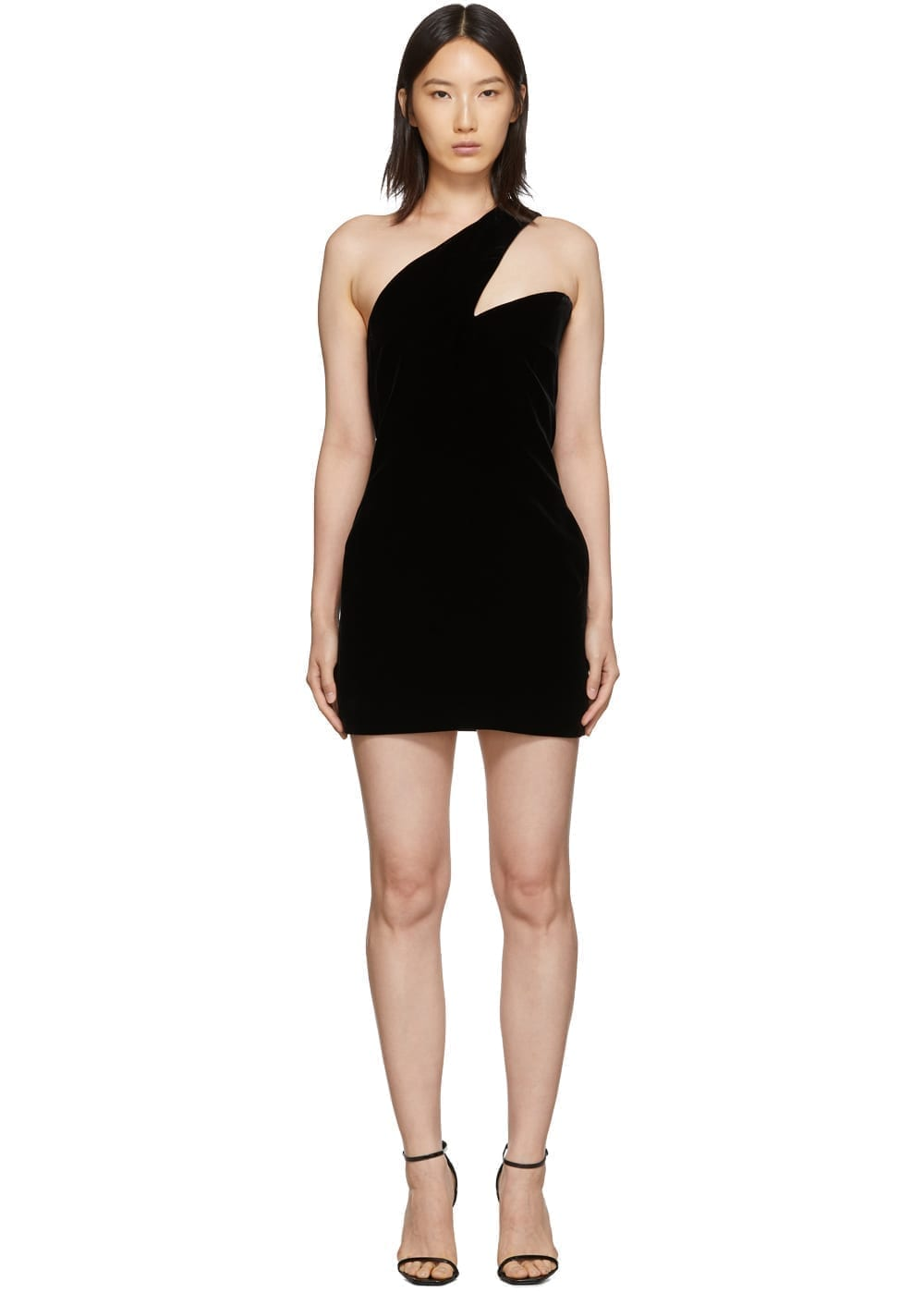 SAINT LAURENT Black One-Shoulder Velvet Short Dress