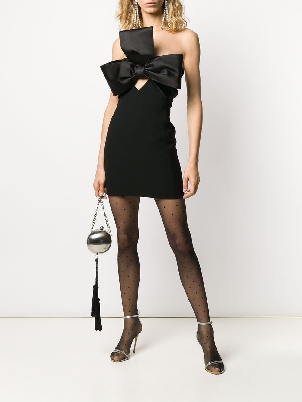 SAINT LAURENT Bow Embellished Strapless Mini Dress
