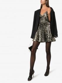 SAINT LAURENT Leopard Print Lamé Mini Dress