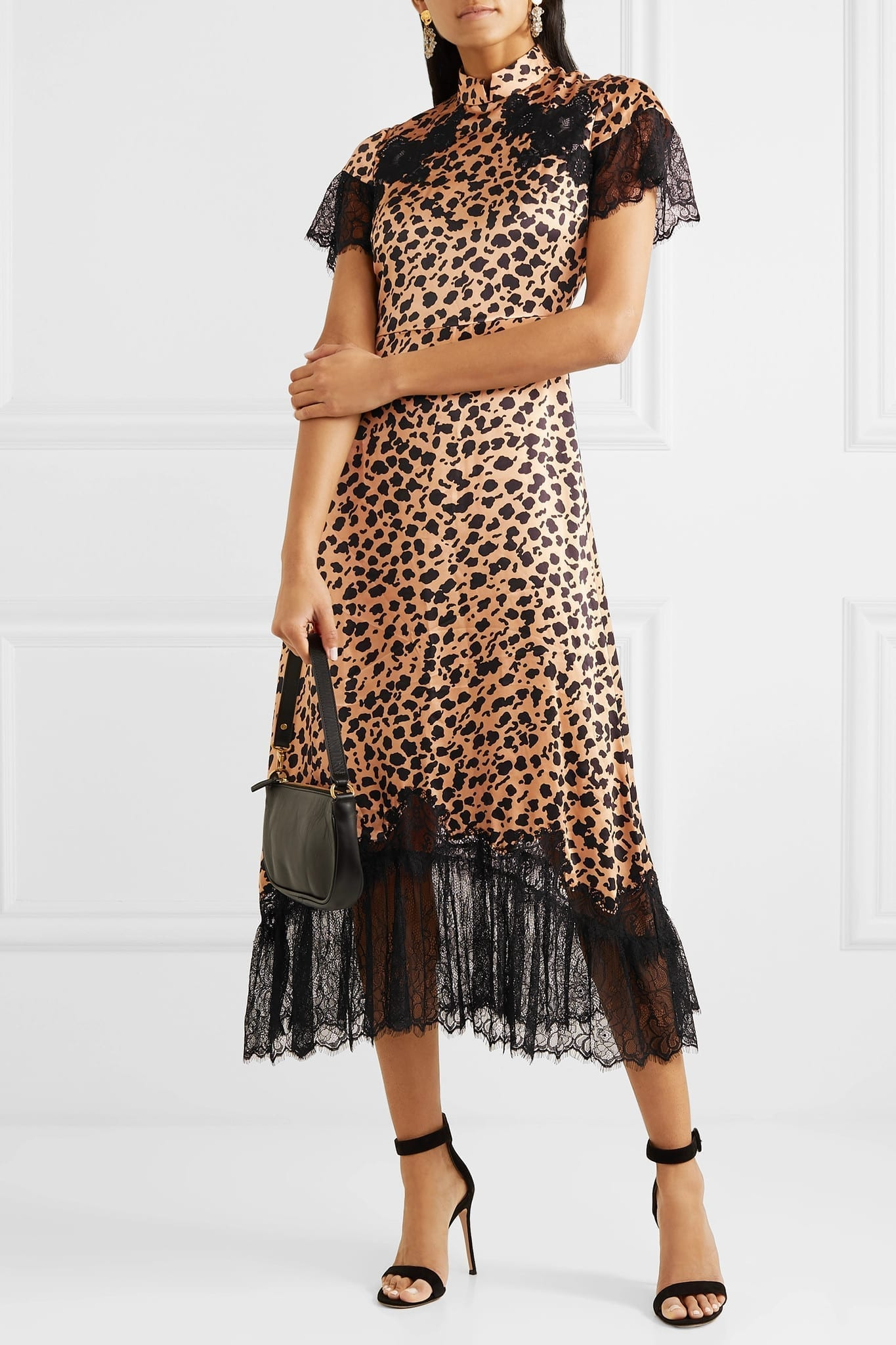 SALONI+ Venyx Ryder Lace-trimmed Leopard-print Silk-satin Midi Dress