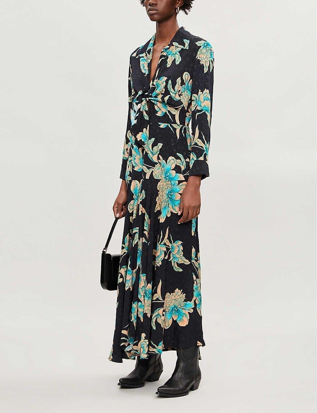 SANDRO Blaire Floral-print Crepe Maxi Dress