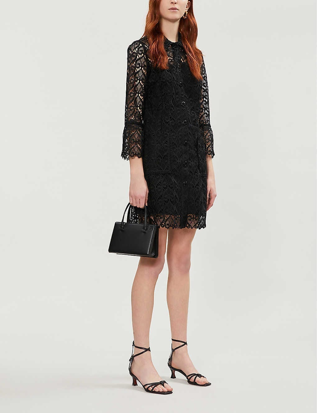 SANDRO Sylvia Collared Lace Shirt Dress