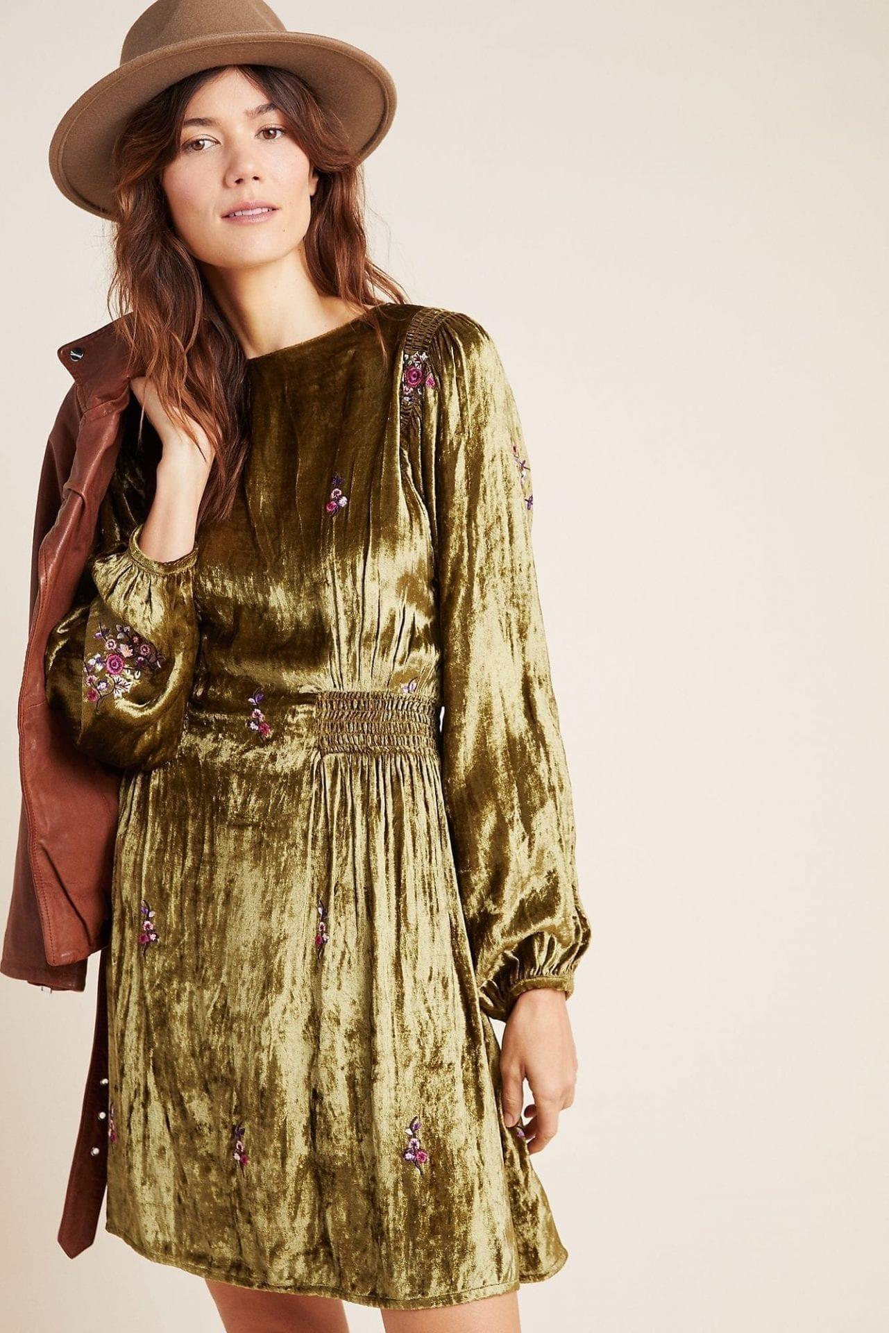 SEEN WORN KEPT Nicoline Embroidered Velvet Tunic Dress