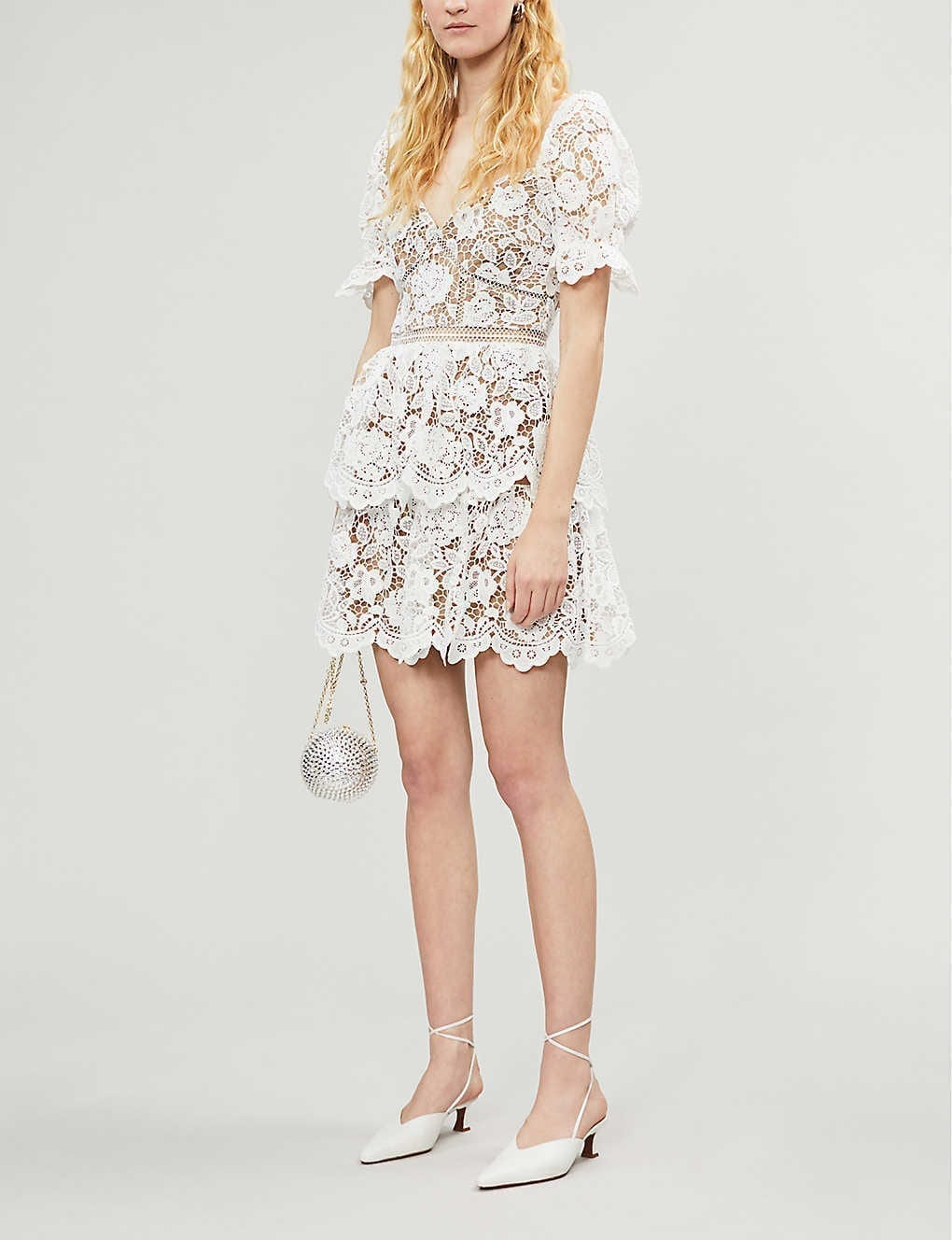 SELF-PORTRAIT Floral Guipure Lace Mini Dress