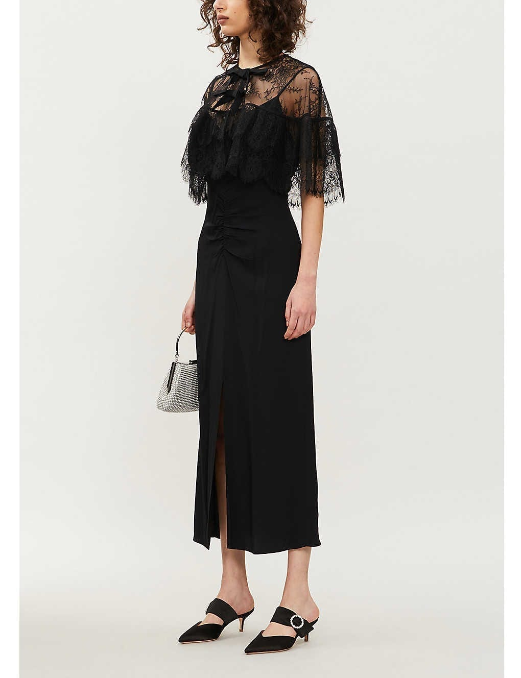 SELF-PORTRAIT Lace Cape Crepe Midi Dress