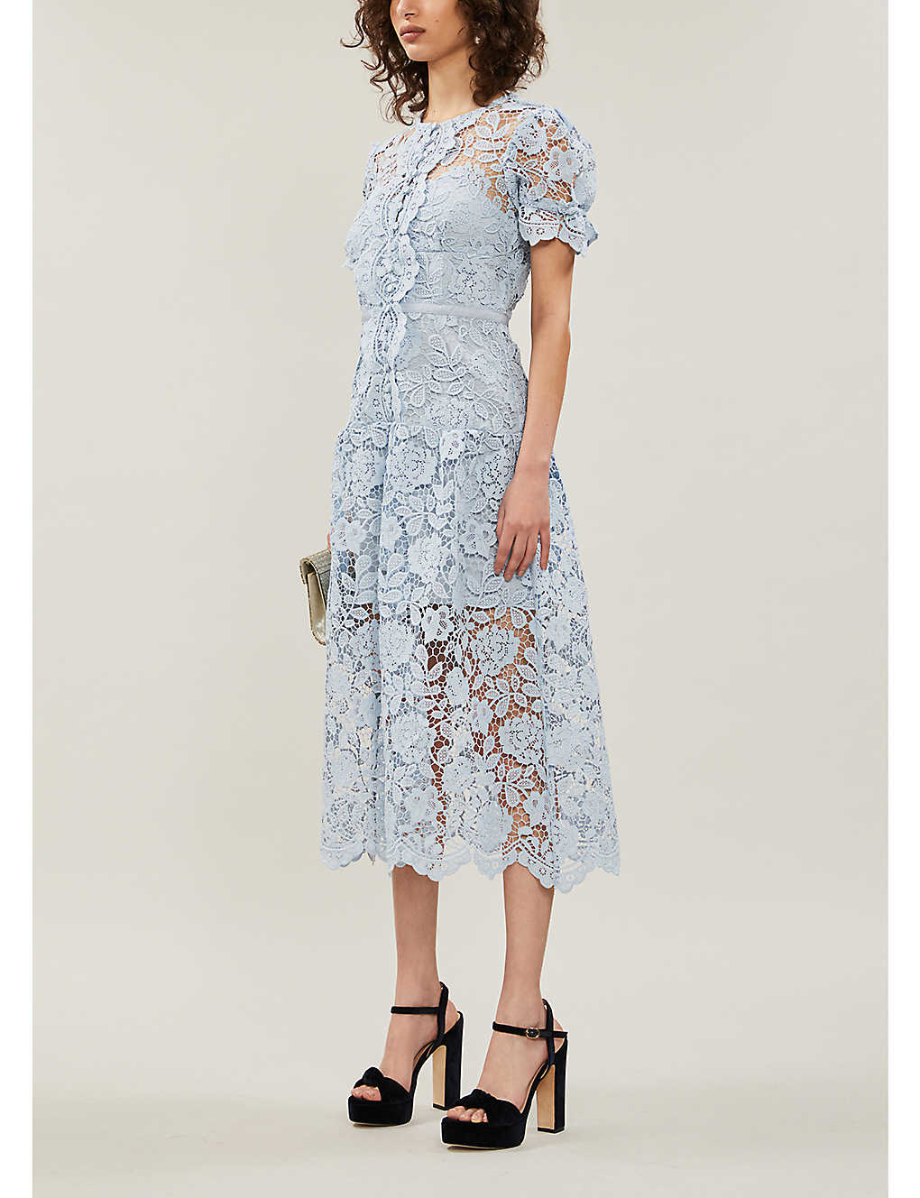 SELF PORTRAIT Puff-sleeve Floral-lace Midi Dress