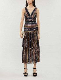 SELF PORTRAIT Striped Sequinned Midi Dress