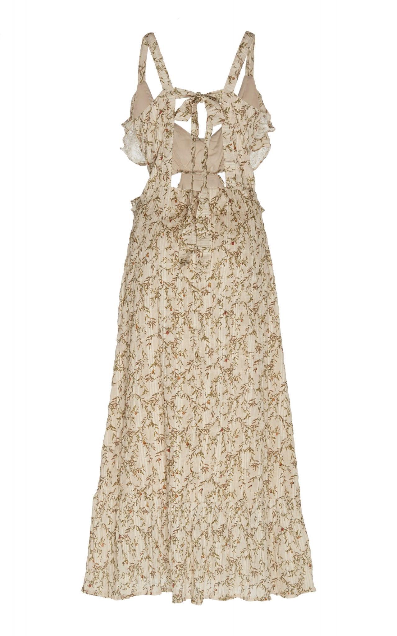 SIR THE LABEL Alba Cutout Printed Stretch-Cotton Midi Dress