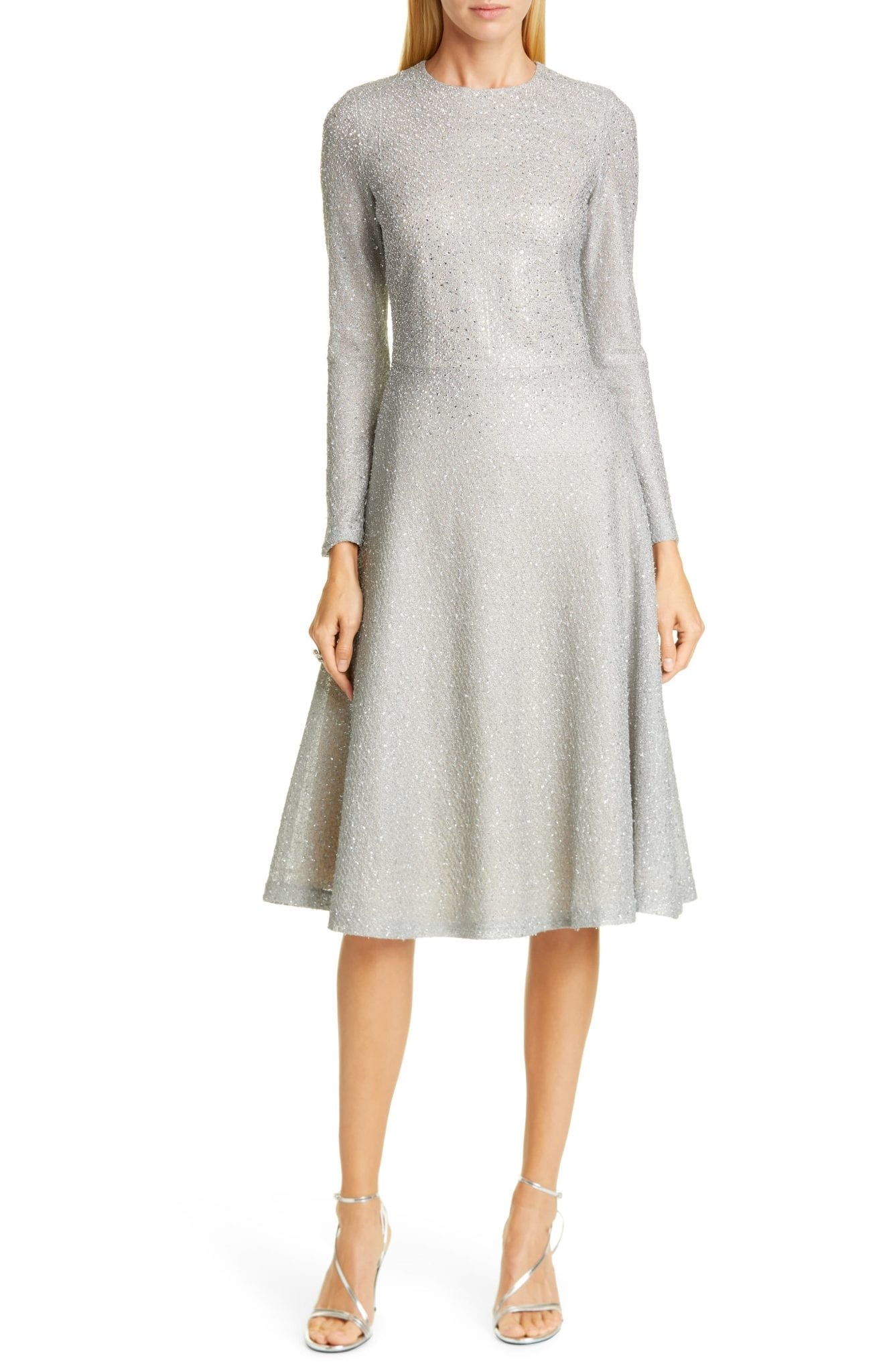ST. JOHN EVENING Embellished Netting Knit Fit & Flare Dress