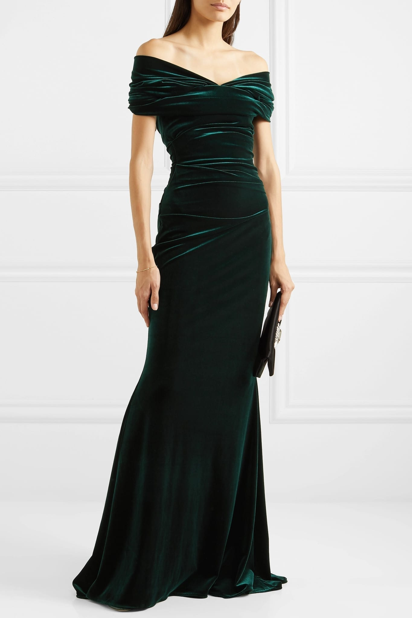 TALBOT RUNHOF Bobonne Off-the-shoulder Ruched Stretch-velvet Gown
