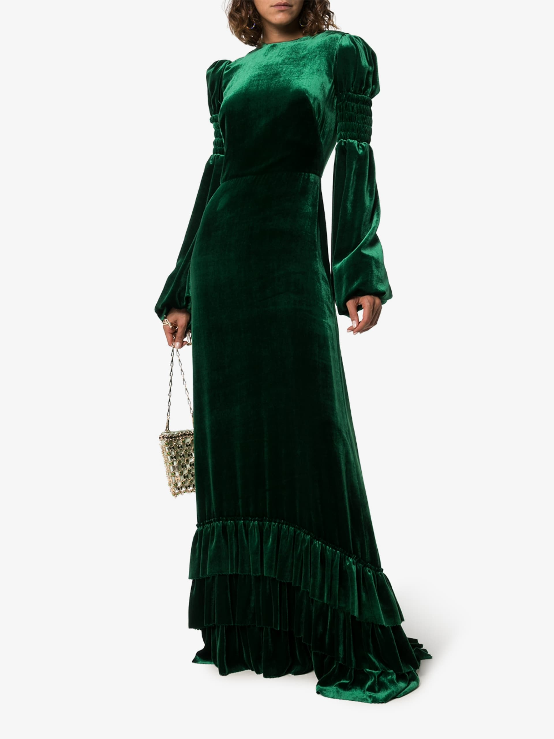 THE VAMPIRE'S WIFE Ruffle Hem Velvet Maxi Dress