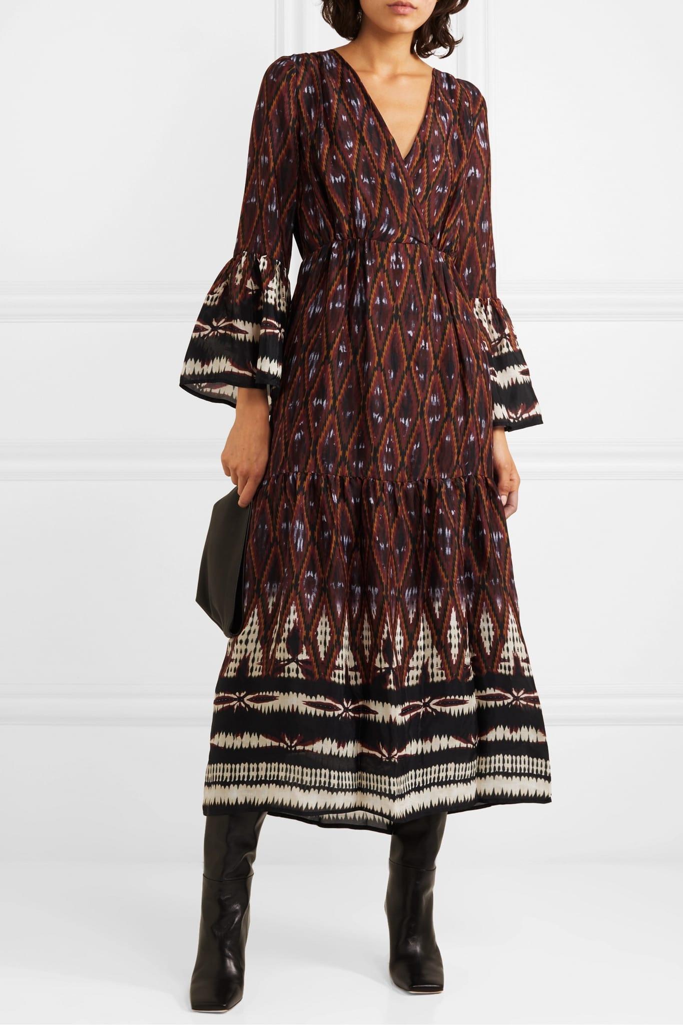 VANESSA BRUNO Melissandre Tiered Printed Crepe De Chine Midi Dress