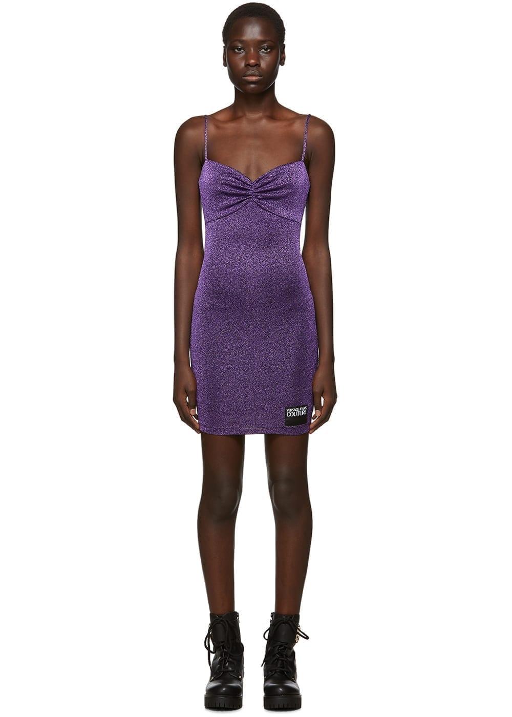 VERSACE JEANS COUTURE Purple Lurex Spaghetti Straps Dress