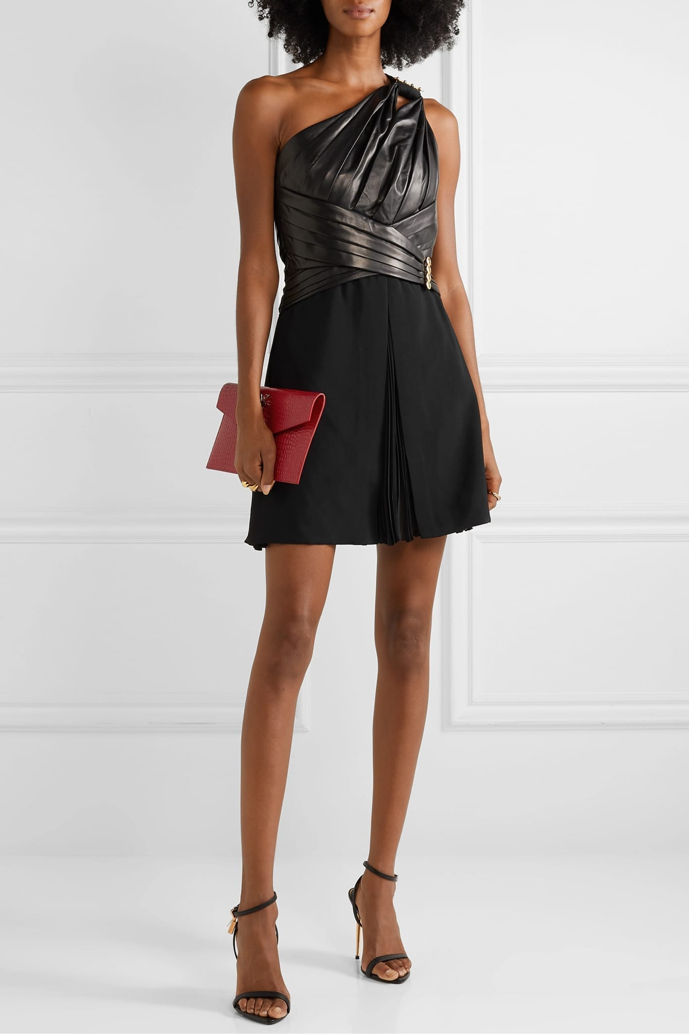 VERSACE One-shoulder Gathered Leather Crepe And Chiffon Mini Dress