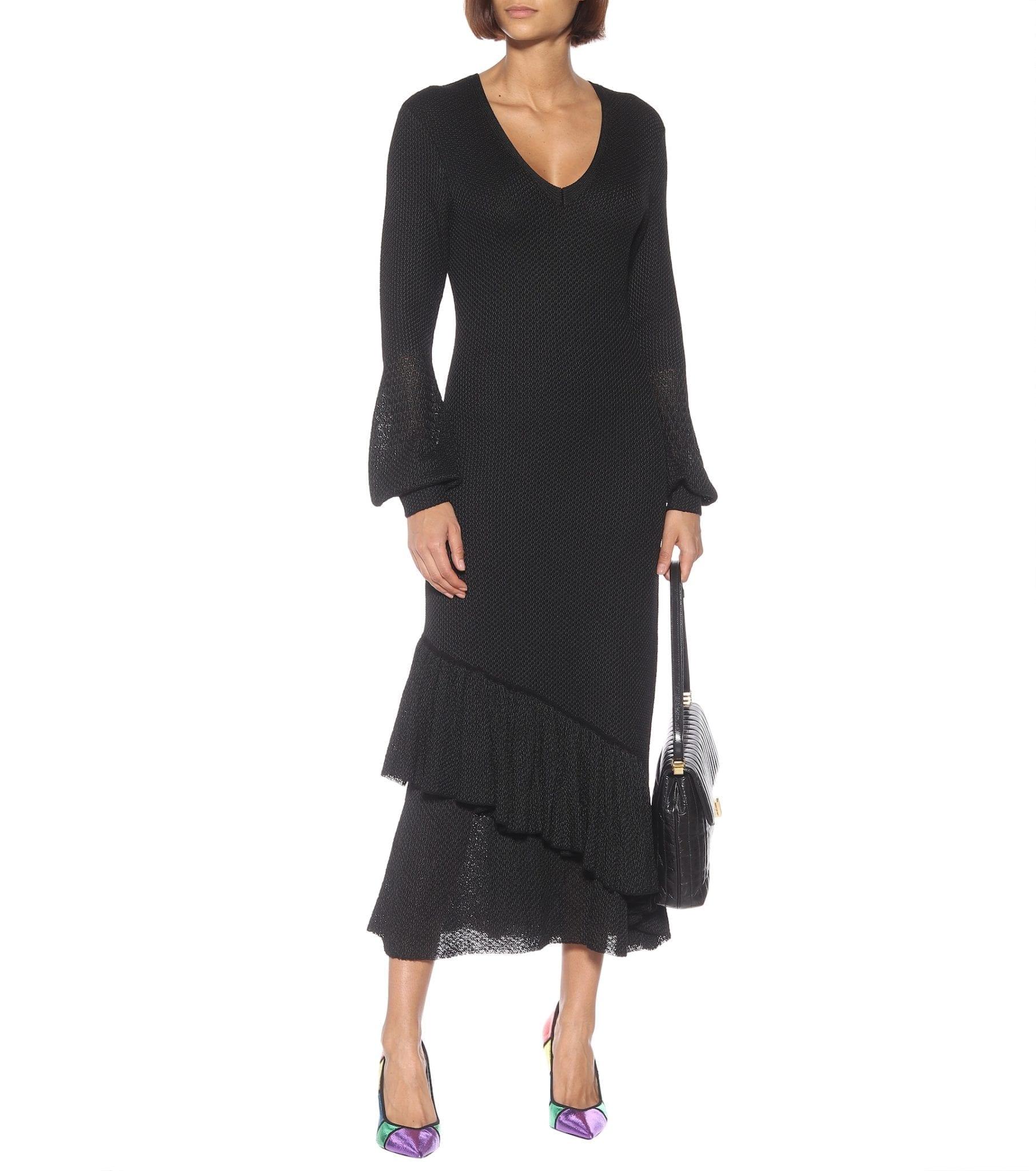 VICTORIA BECKHAM Knit Ruffled Midi Dress