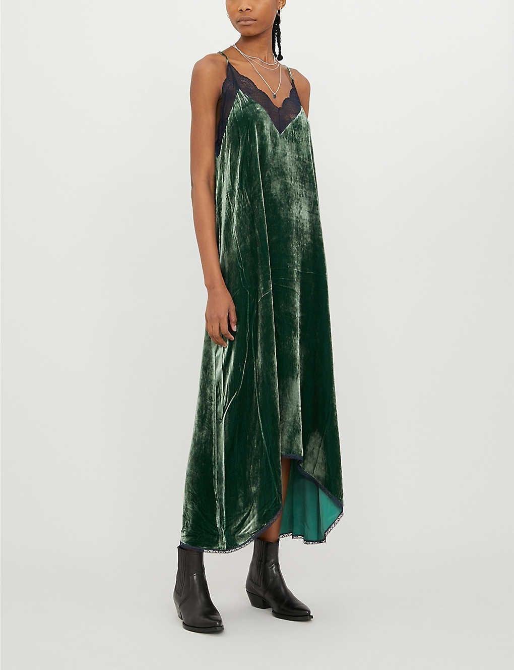 ZADIG&VOLTAIRE Risty Lace-trim Silk-velvet Dress