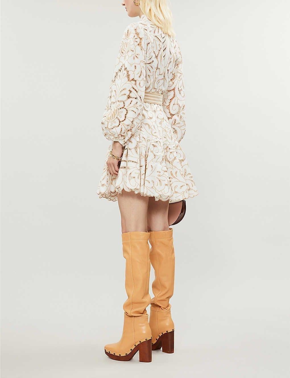 ZIMMERMANN Edie Floral Lace Mini Dress