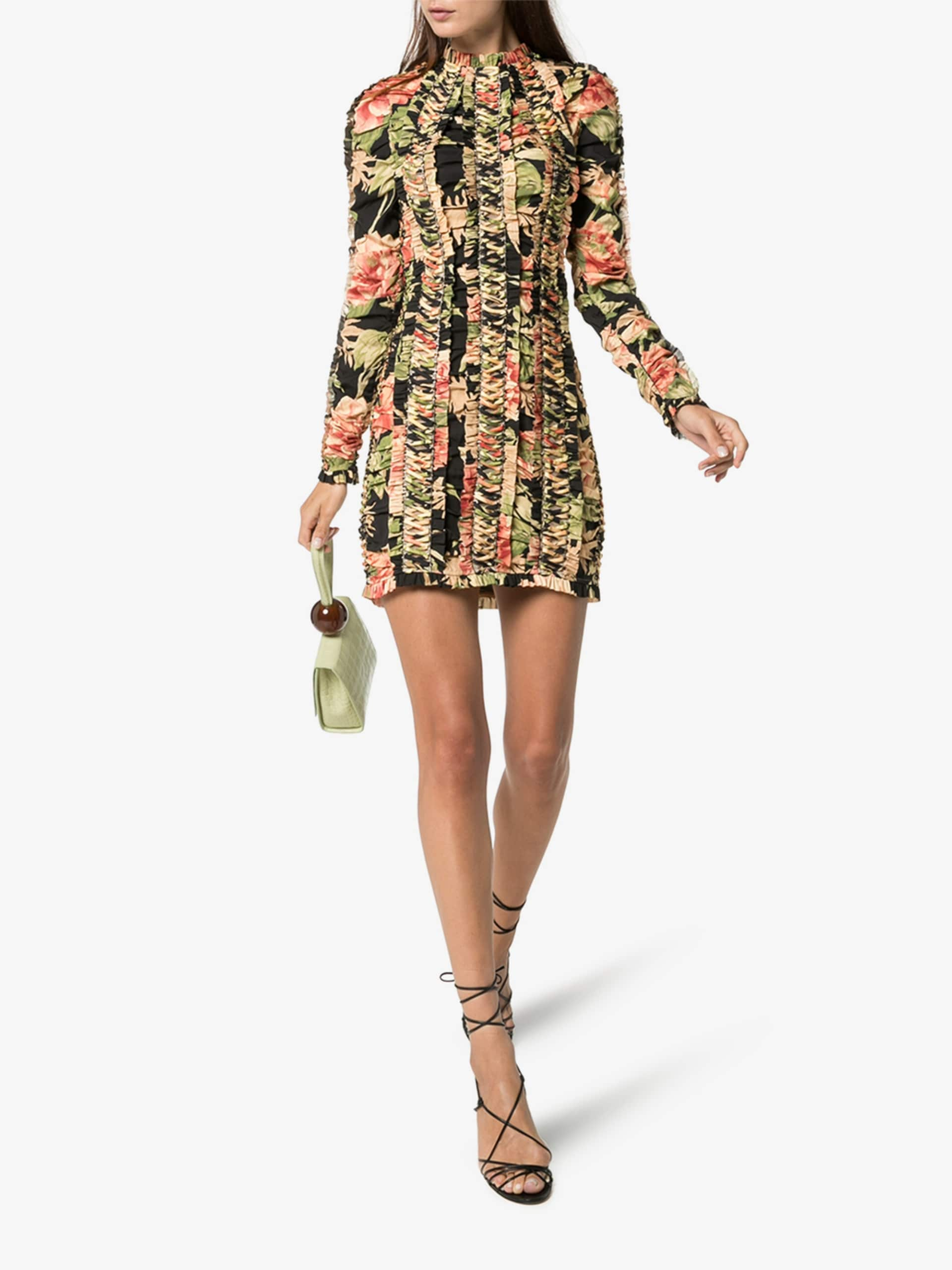 ZIMMERMANN Floral Lace-Up Silk Dress