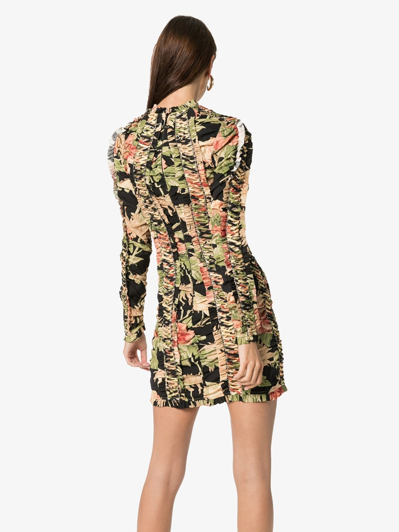 ZIMMERMANN Floral Lace-Up Silk Dress