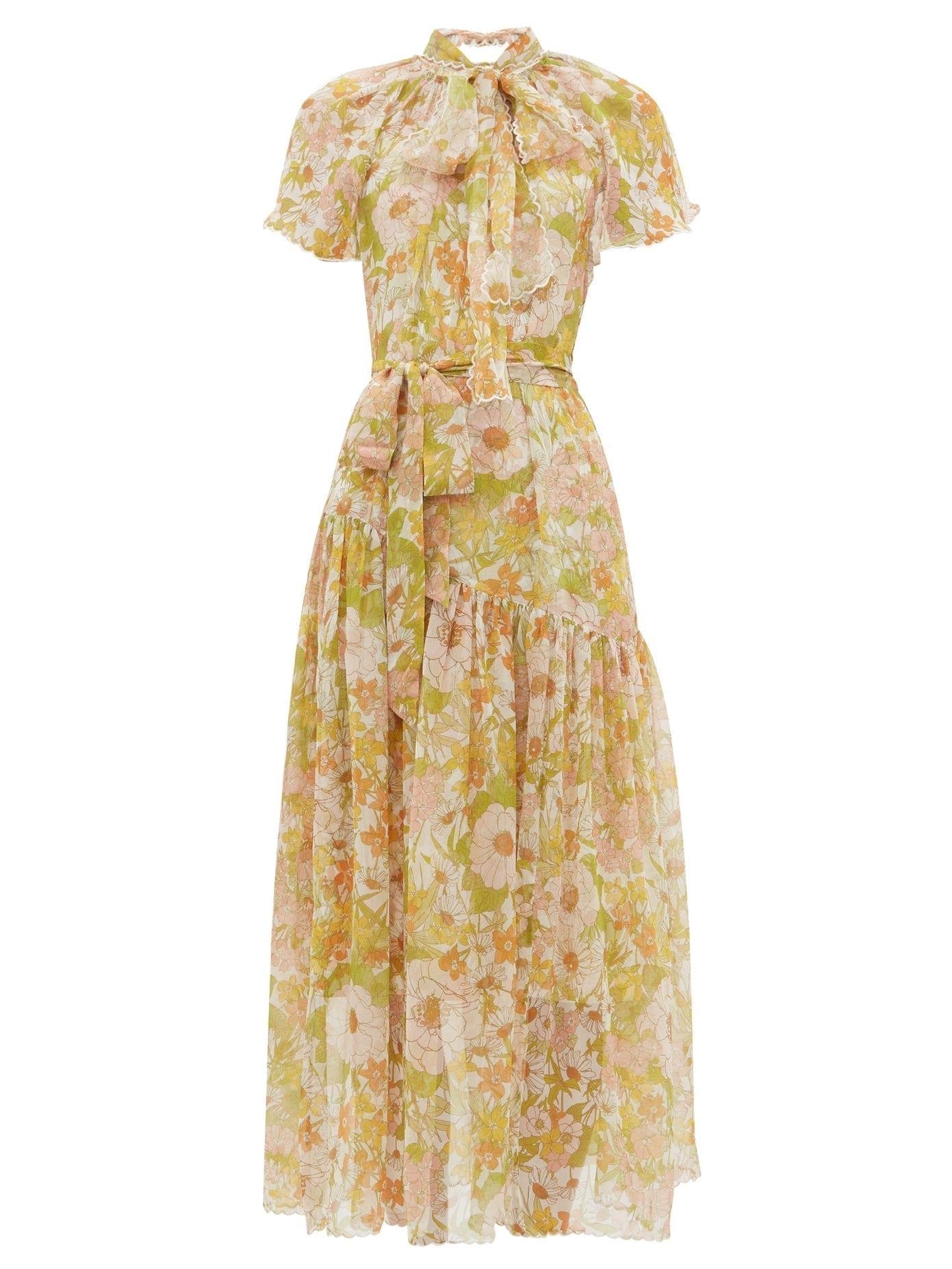 ZIMMERMANN Super Eight Floral-print Silk-chiffon Dress