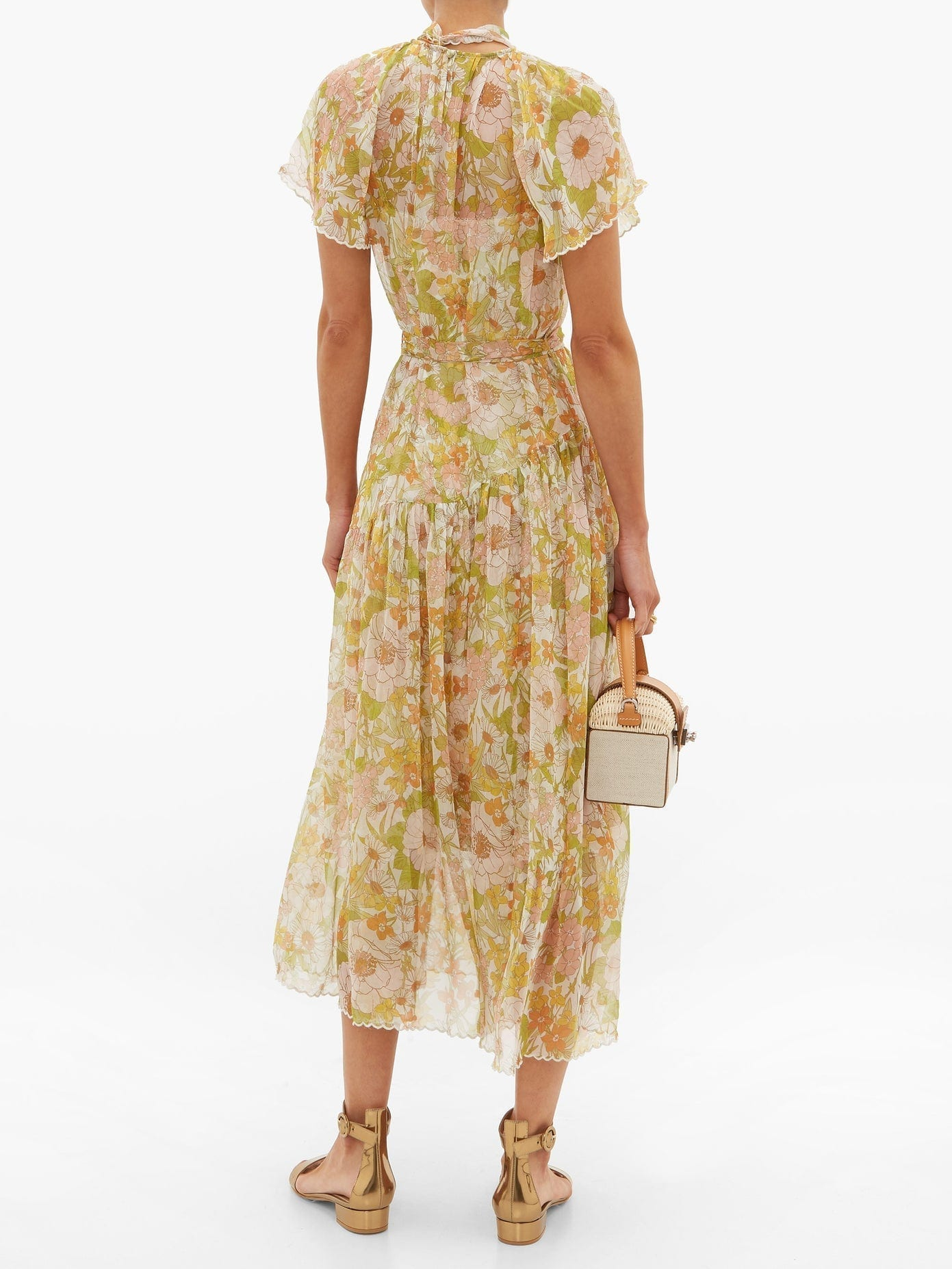 Zimmermann Super Eight Floral Print Silk Chiffon Dress