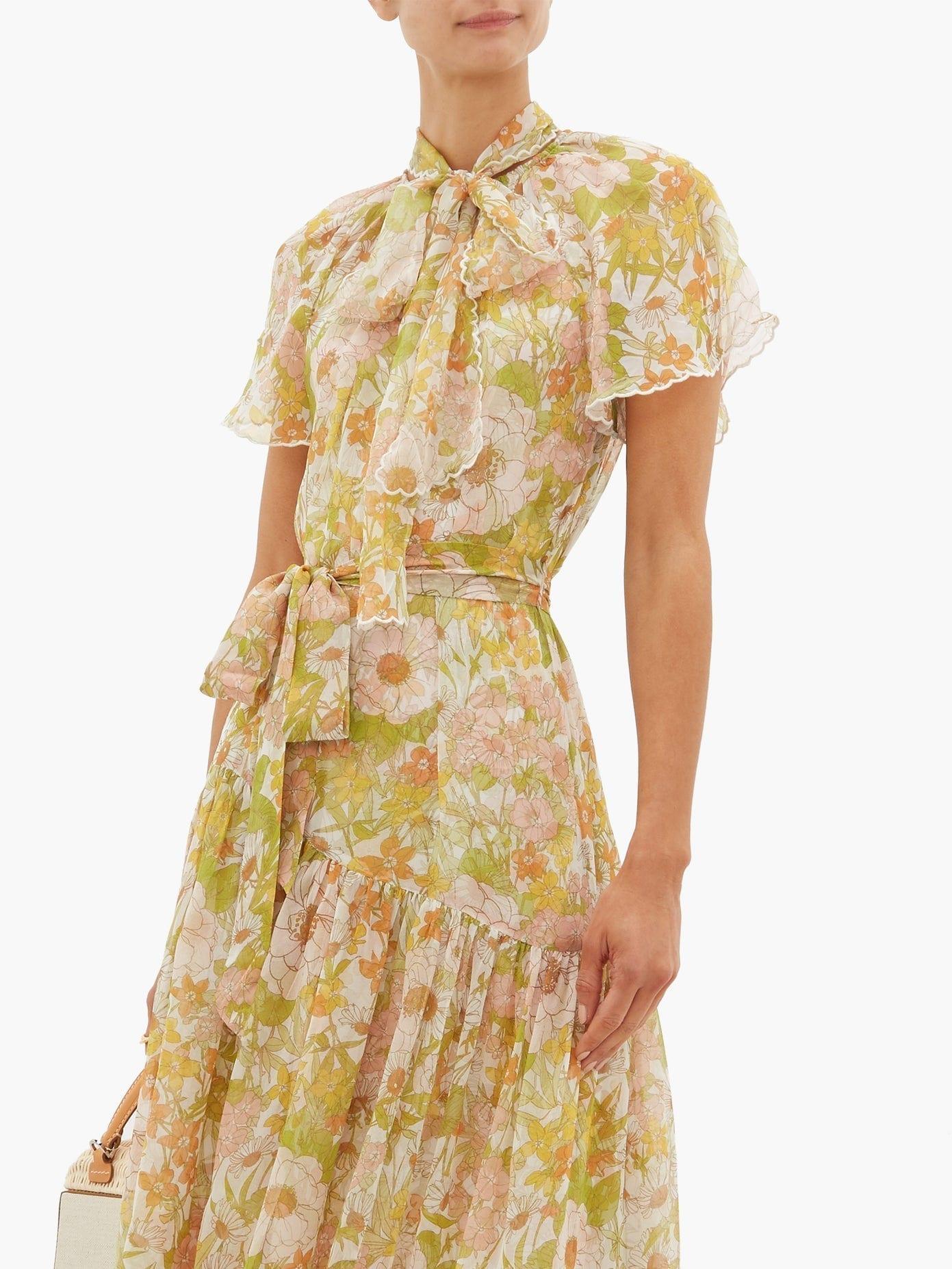 Zimmermann Super Eight Floral Print Silk Chiffon Dress