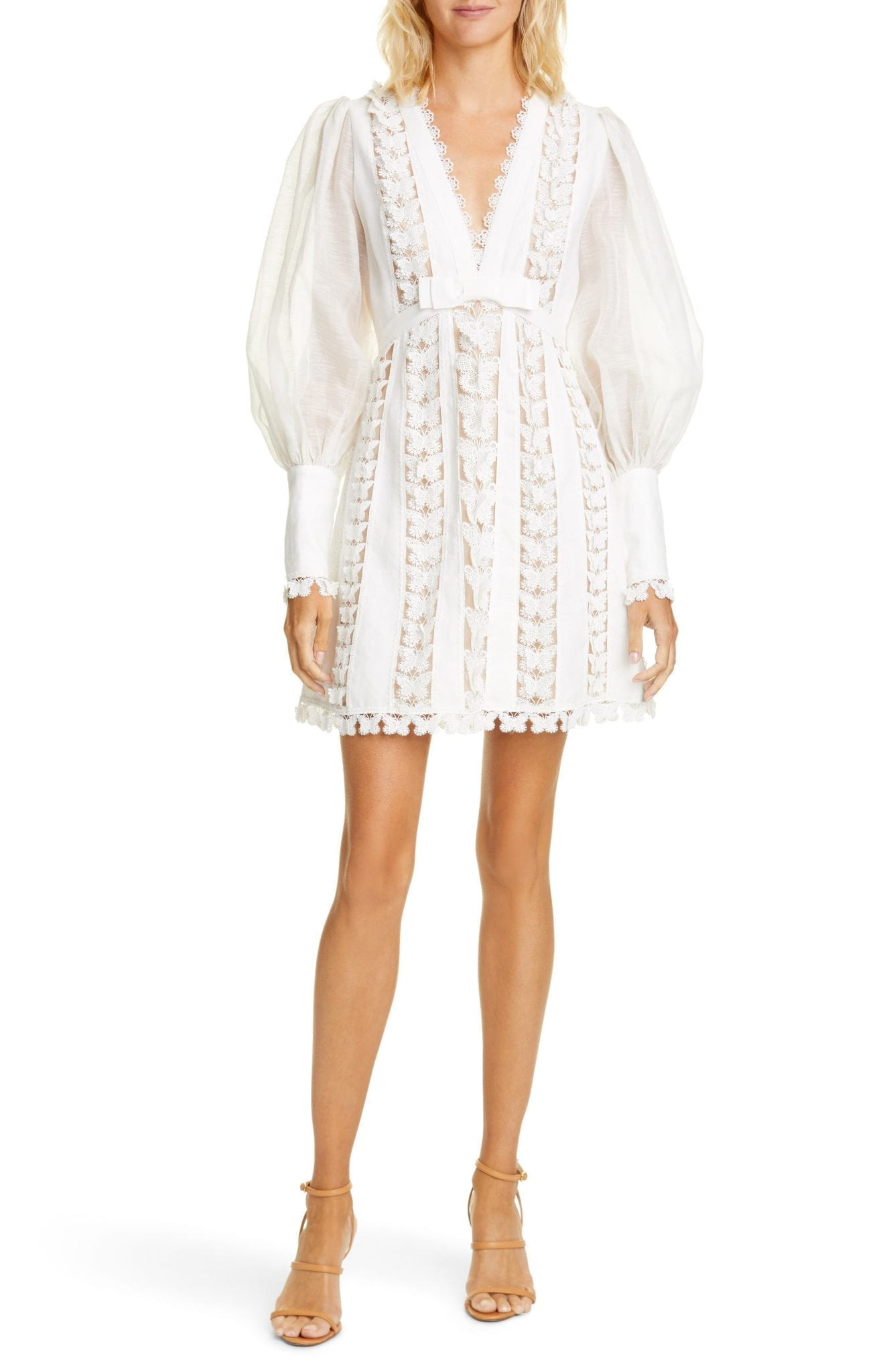 ZIMMERMANN Super Eight Flutter Long Sleeve Linen Mini Dress