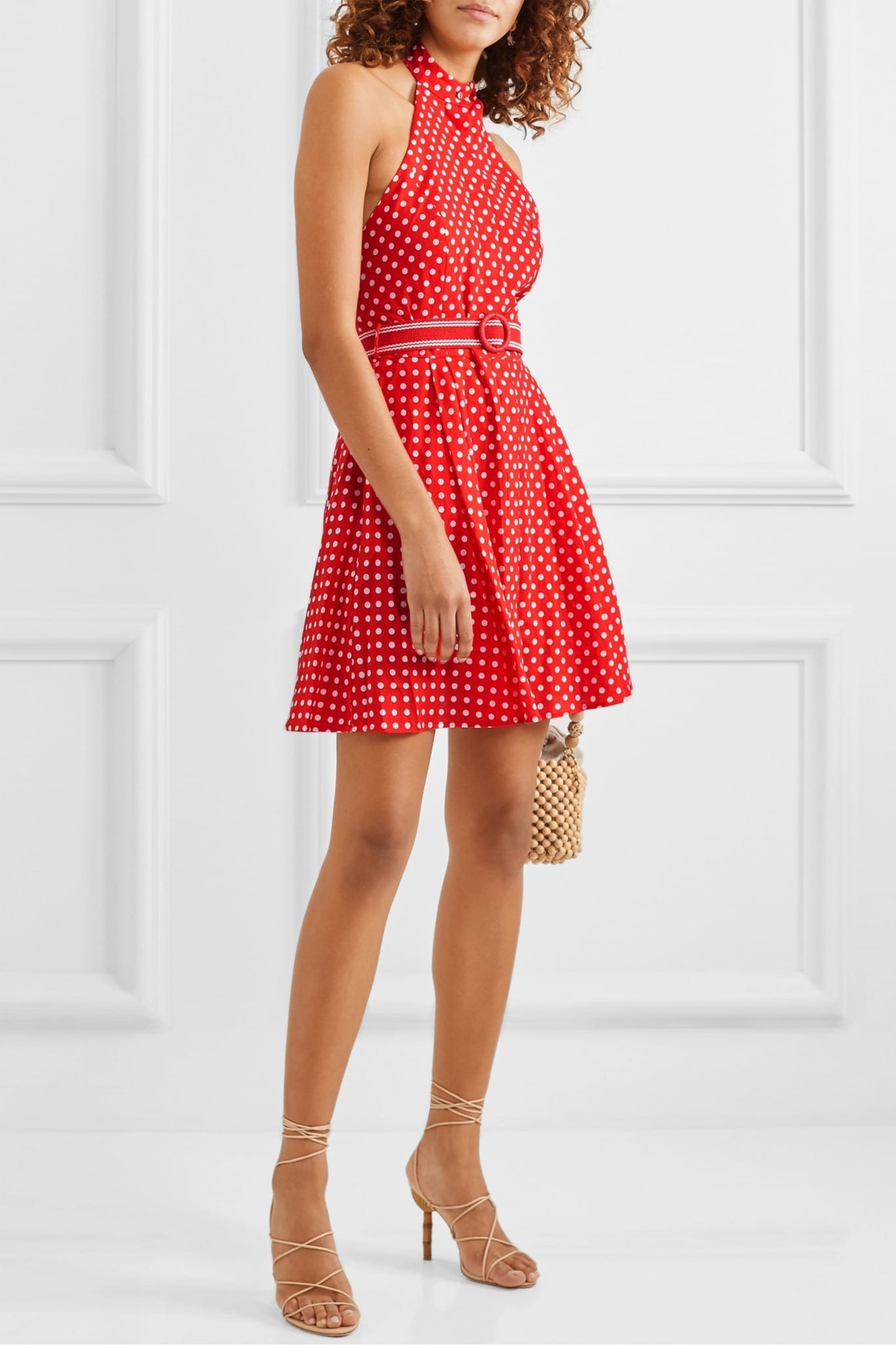 ZIMMERMANN Zinnia Halterneck Polka-dot Linen And Cotton-blend Voile Mini Dress