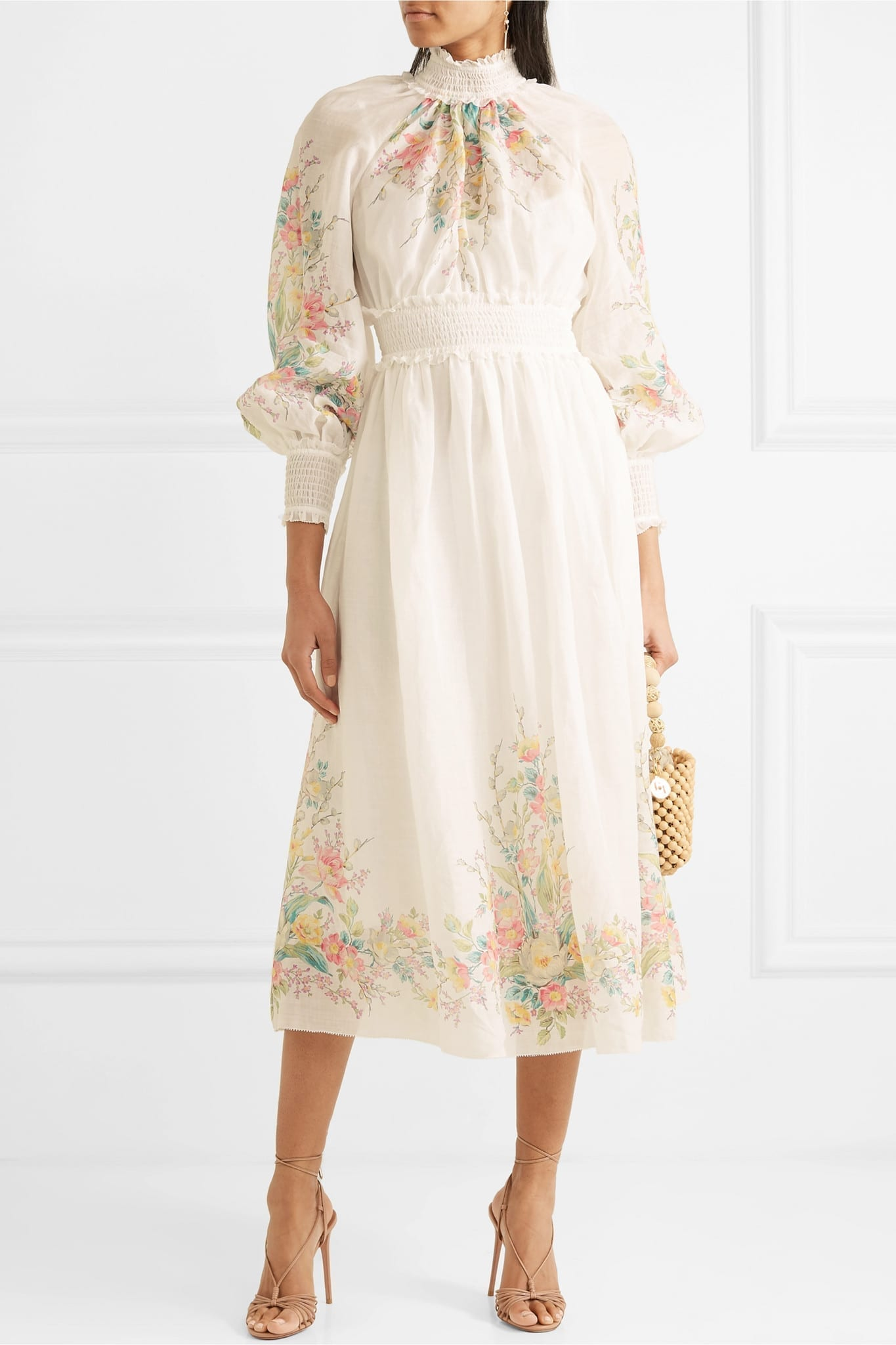 ZIMMERMANN Zinnia Ruffled Shirred Floral-print Ramie-gauze Maxi Dress