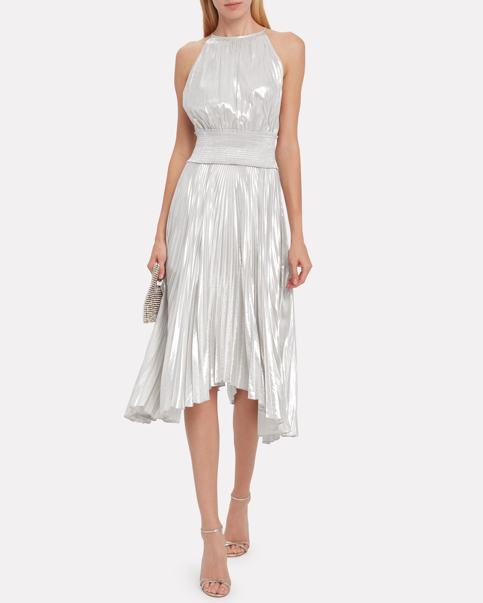 A.L.C. Weston Pleated Lamé Dress