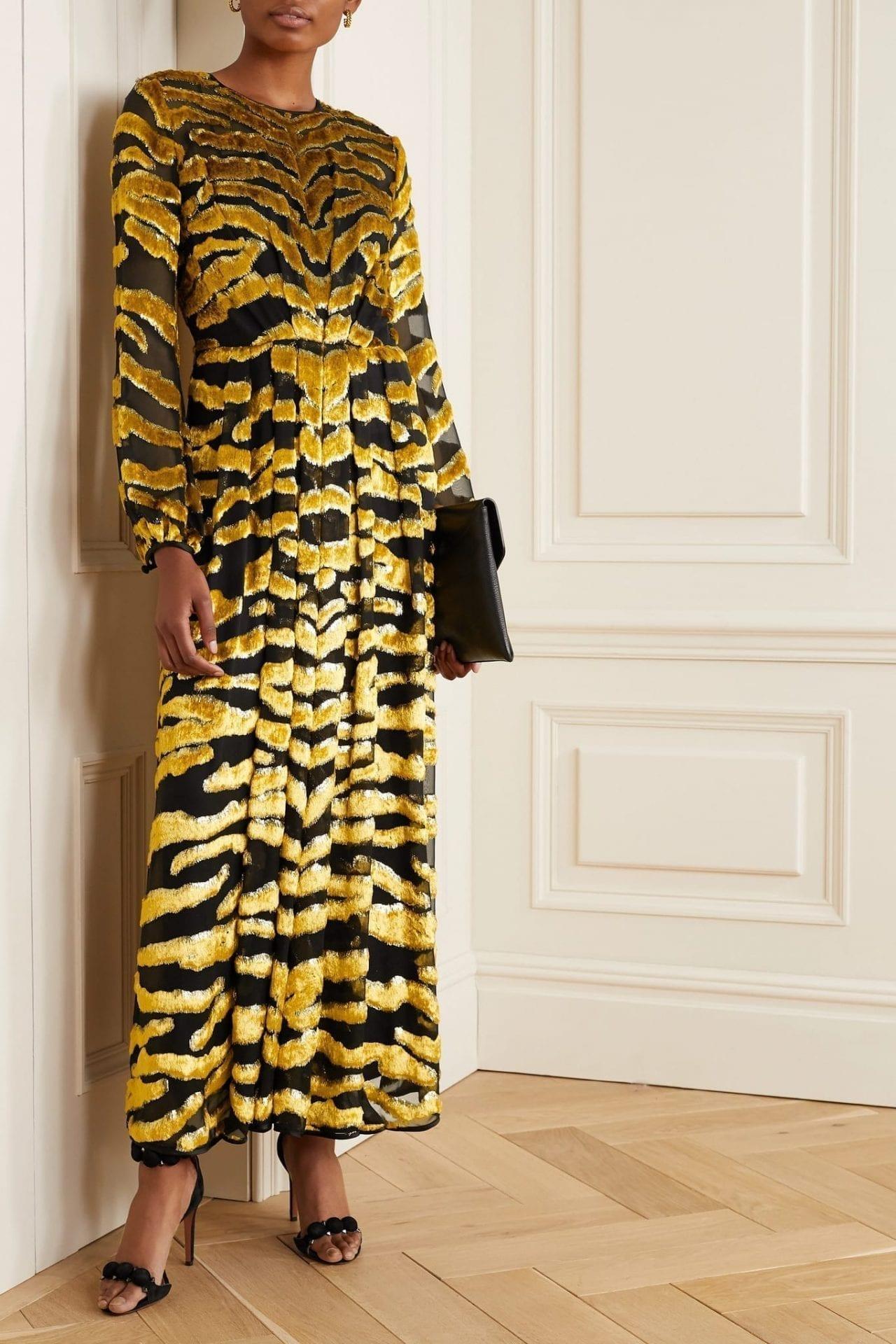 ADAM LIPPES Fil Coupé Silk-chiffon Gown