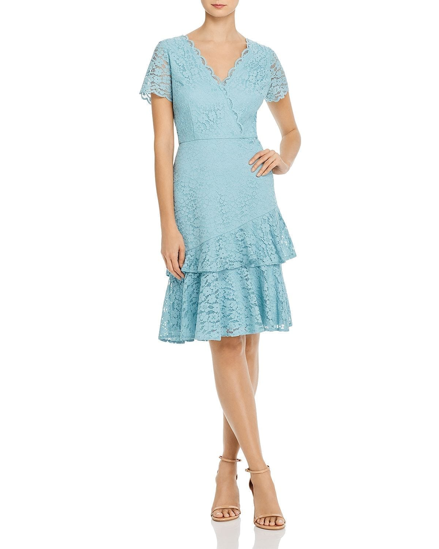ADRIANNA PAPELL Felicity Flounced Lace Dress