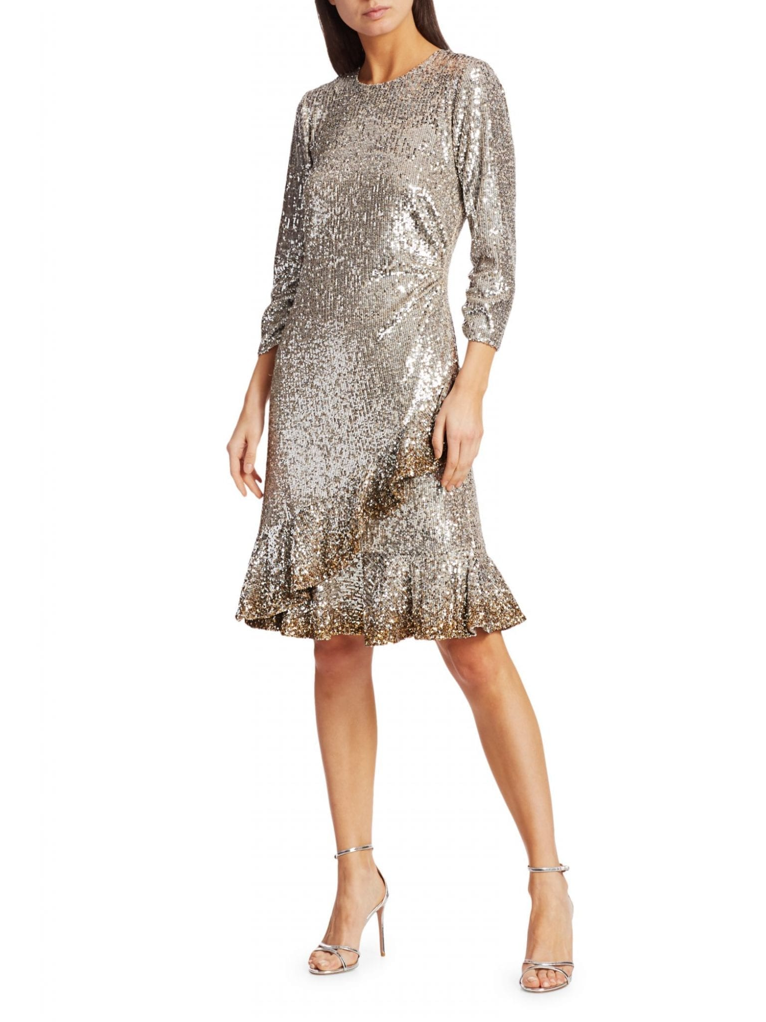 AHLUWALIA Sequin Ruffle-Hem Dress