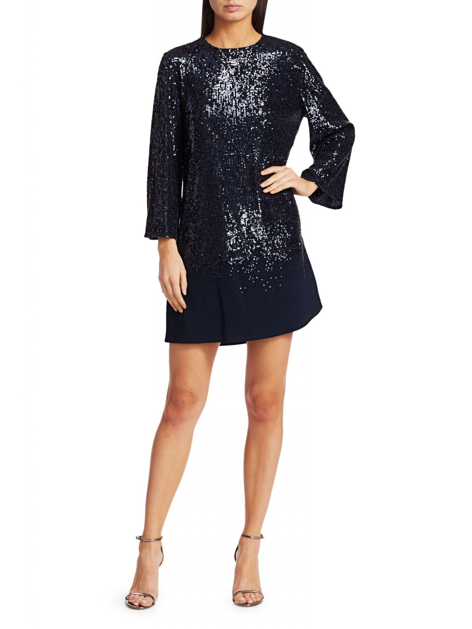 AHLUWALIA Three-Quarter Sleeve Sequin Dress