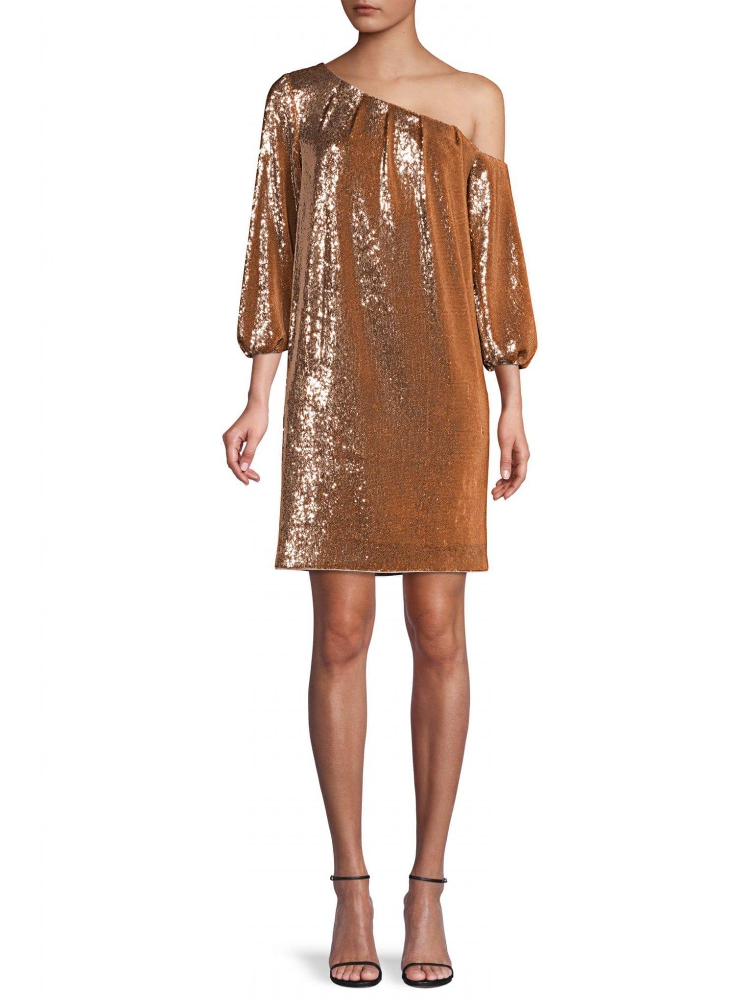 AIDAN BY AIDAN MATTOX Asymmetric Off-the-Shoulder Puff-Sleeve Sequin Shift Dress