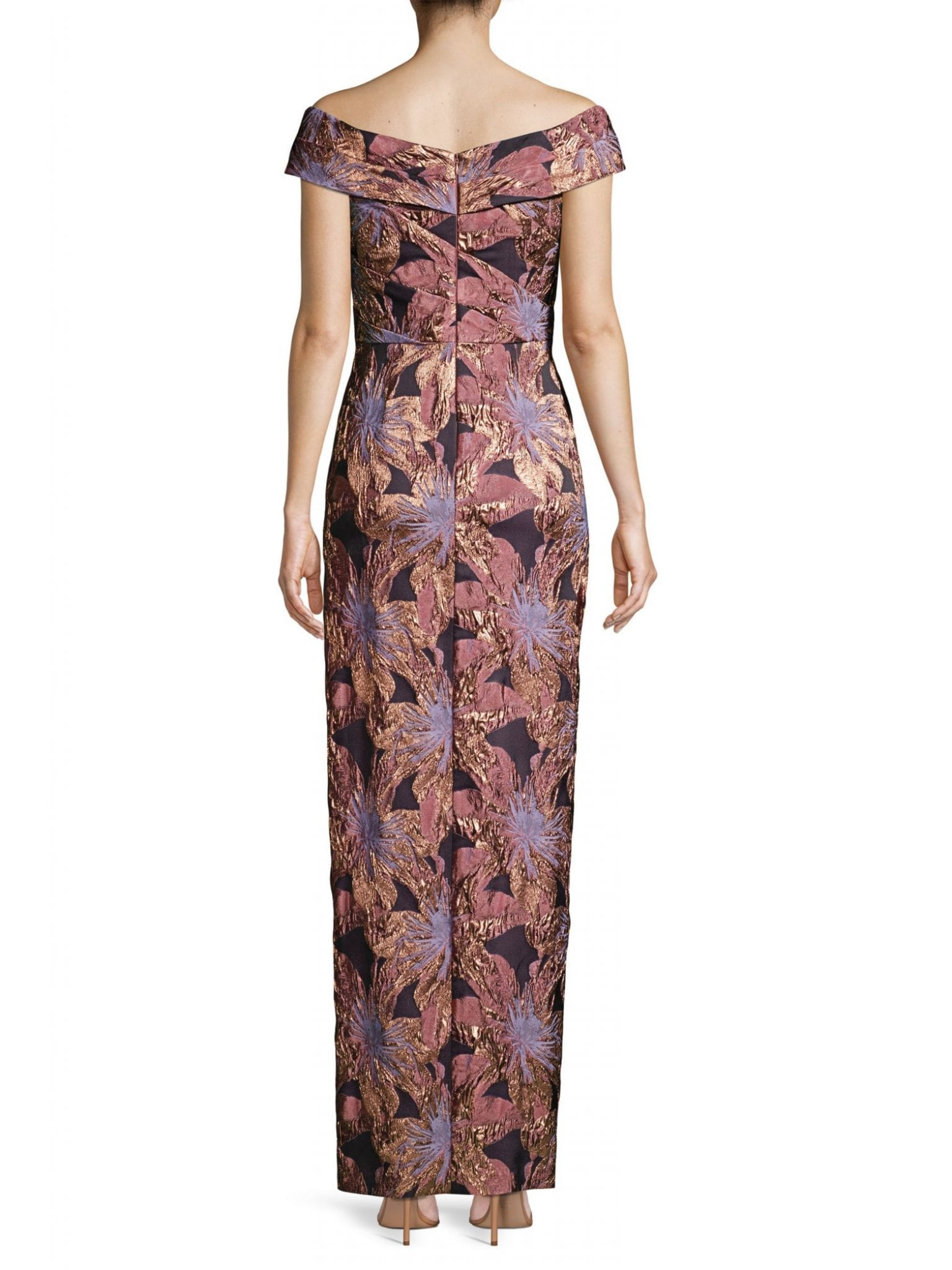AIDAN MATTOX Floral Jacquard Off-the-Shoulder Ruched Column Gown