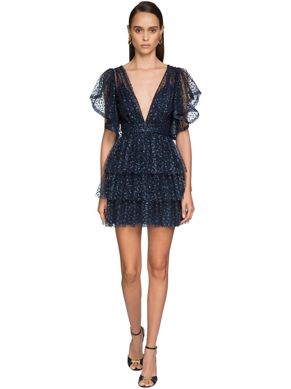 ALBERTA FERRETTI Ruffled Tulle Mini Dress