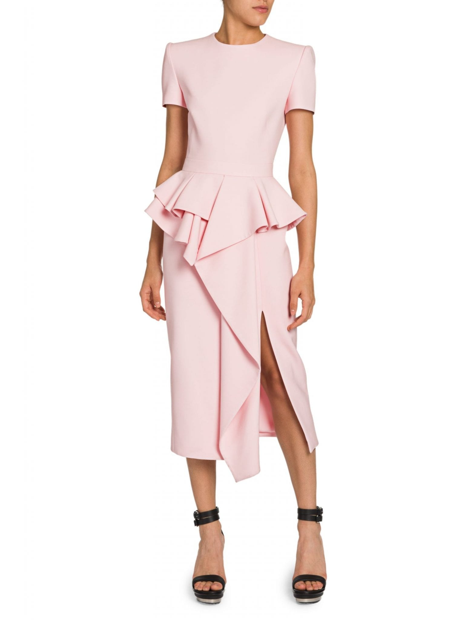 ALEXANDER MCQUEEN Peplum Ruffle Sheath Dress