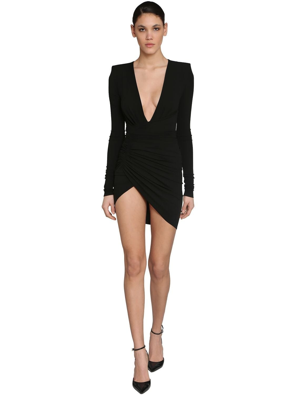 ALEXANDRE VAUTHIER Stretch Jersey V Neck Draped Mini Dress