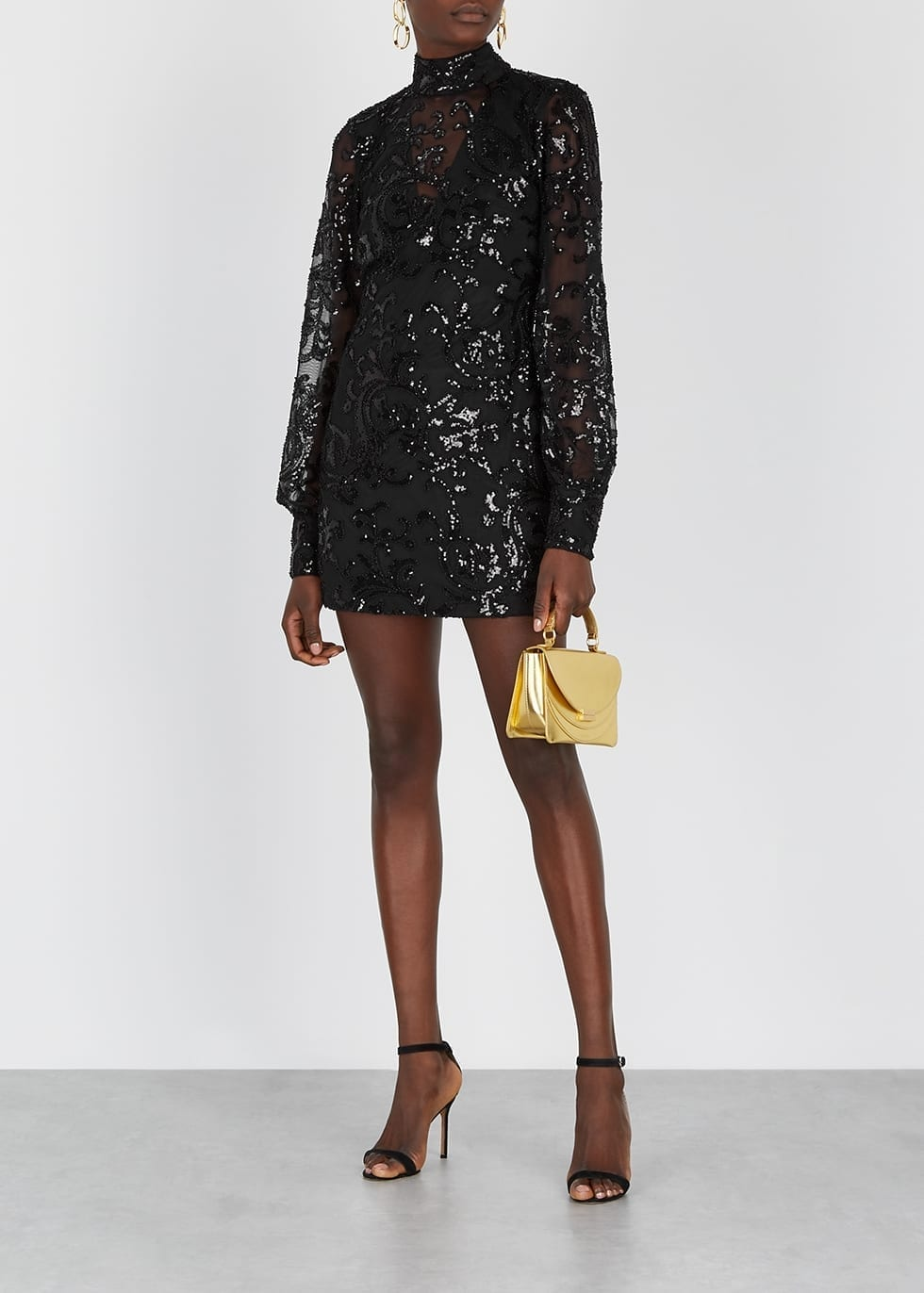 ALEXIS Franciska Black Sequin-embellished Mini Dress