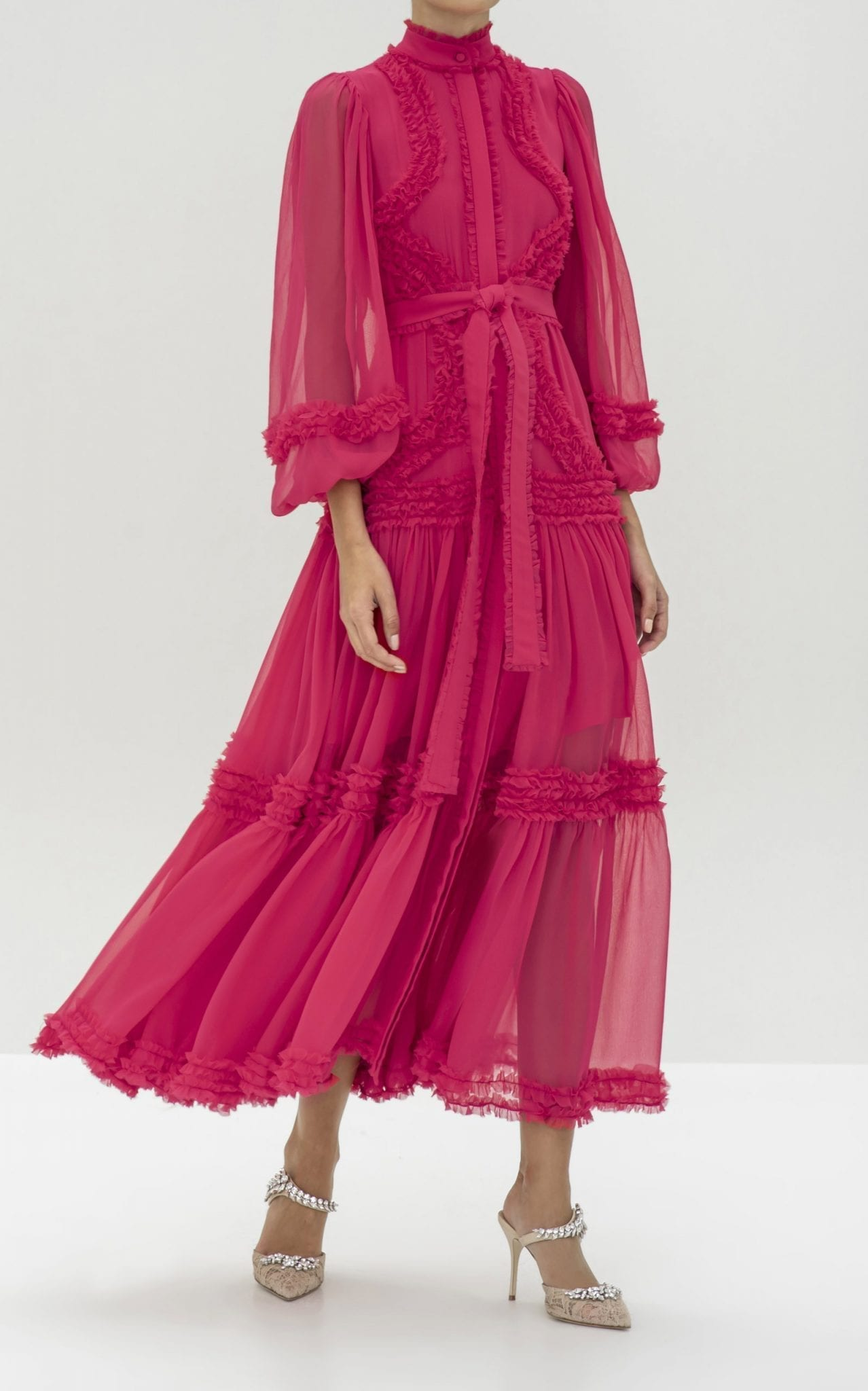 ALEXIS Patrizia Ruffled Silk-Chiffon Maxi Dress