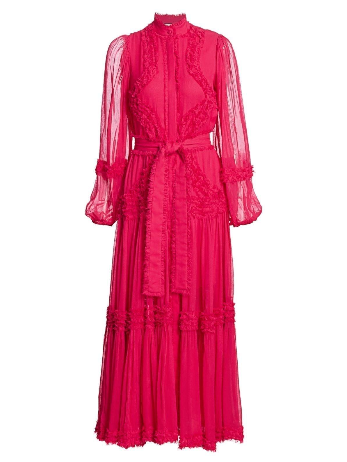 ALEXIS Patrizia Sheer-Sleeve Silk Dress