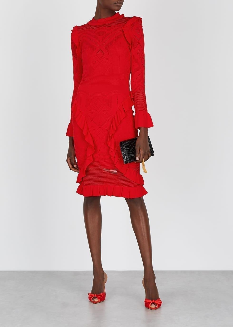ALEXIS Sivan Red Pointelle-knit Dress