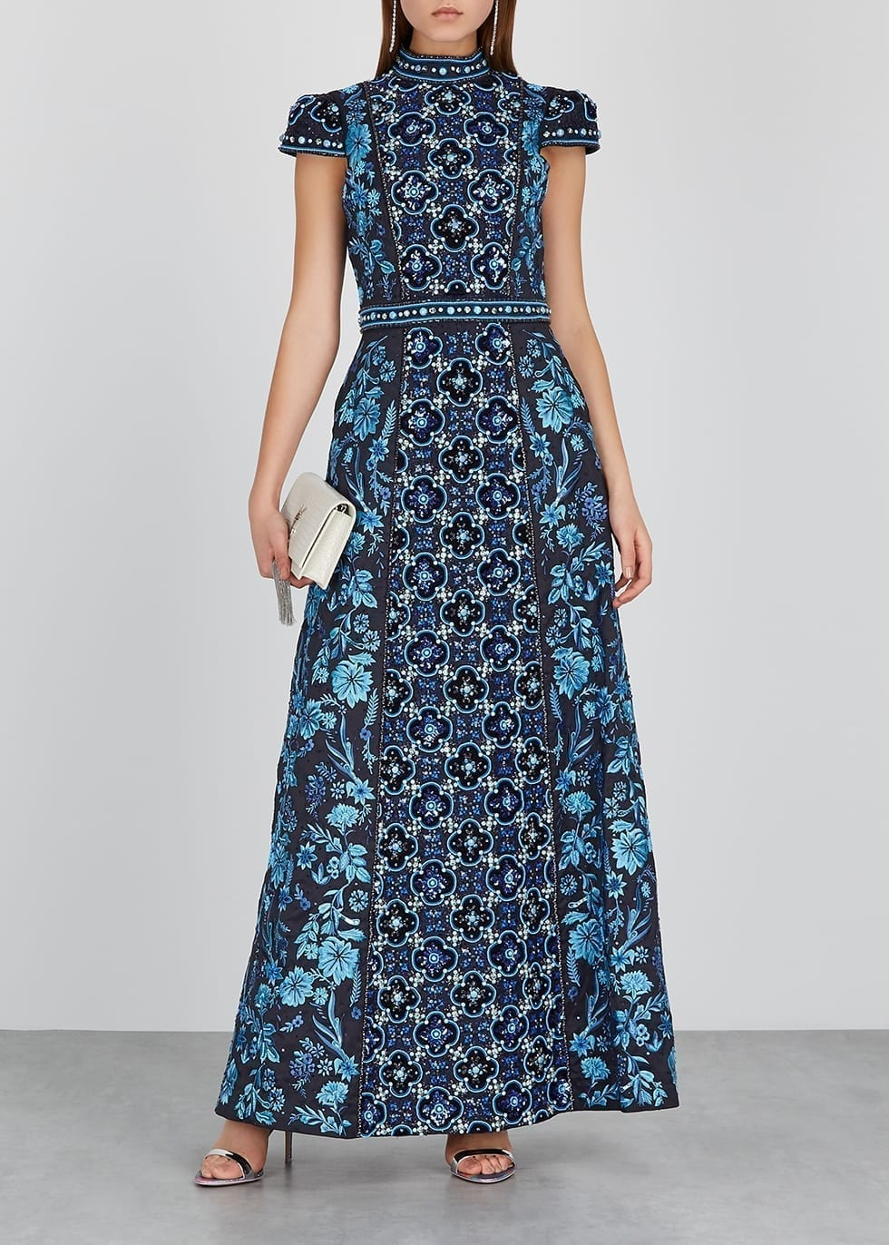 ALICE + OLIVIA Nidia Navy Embellished Satin Gown