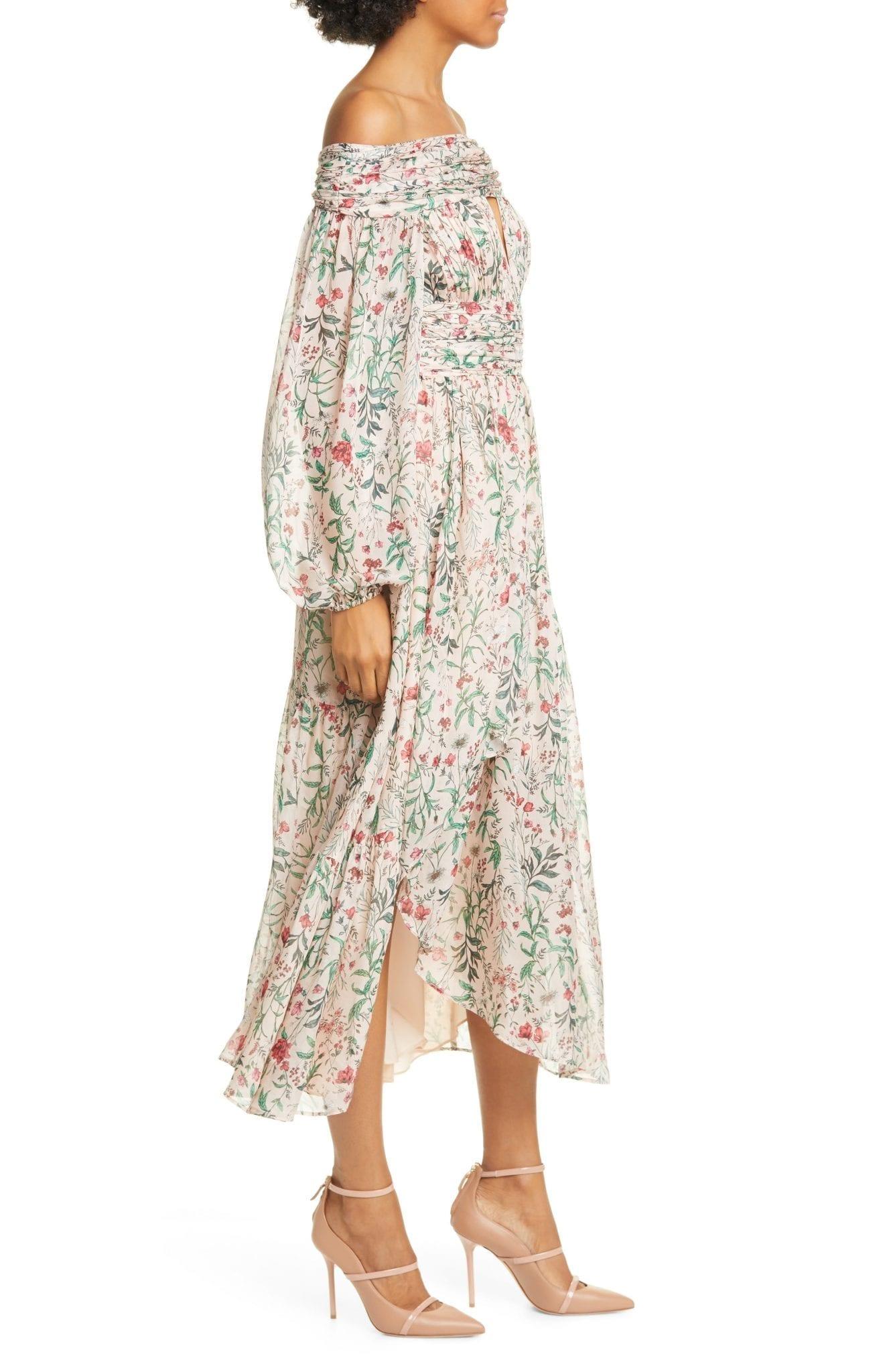 AMUR Daria Floral Off the Shoulder Long Sleeve Silk Midi Dress