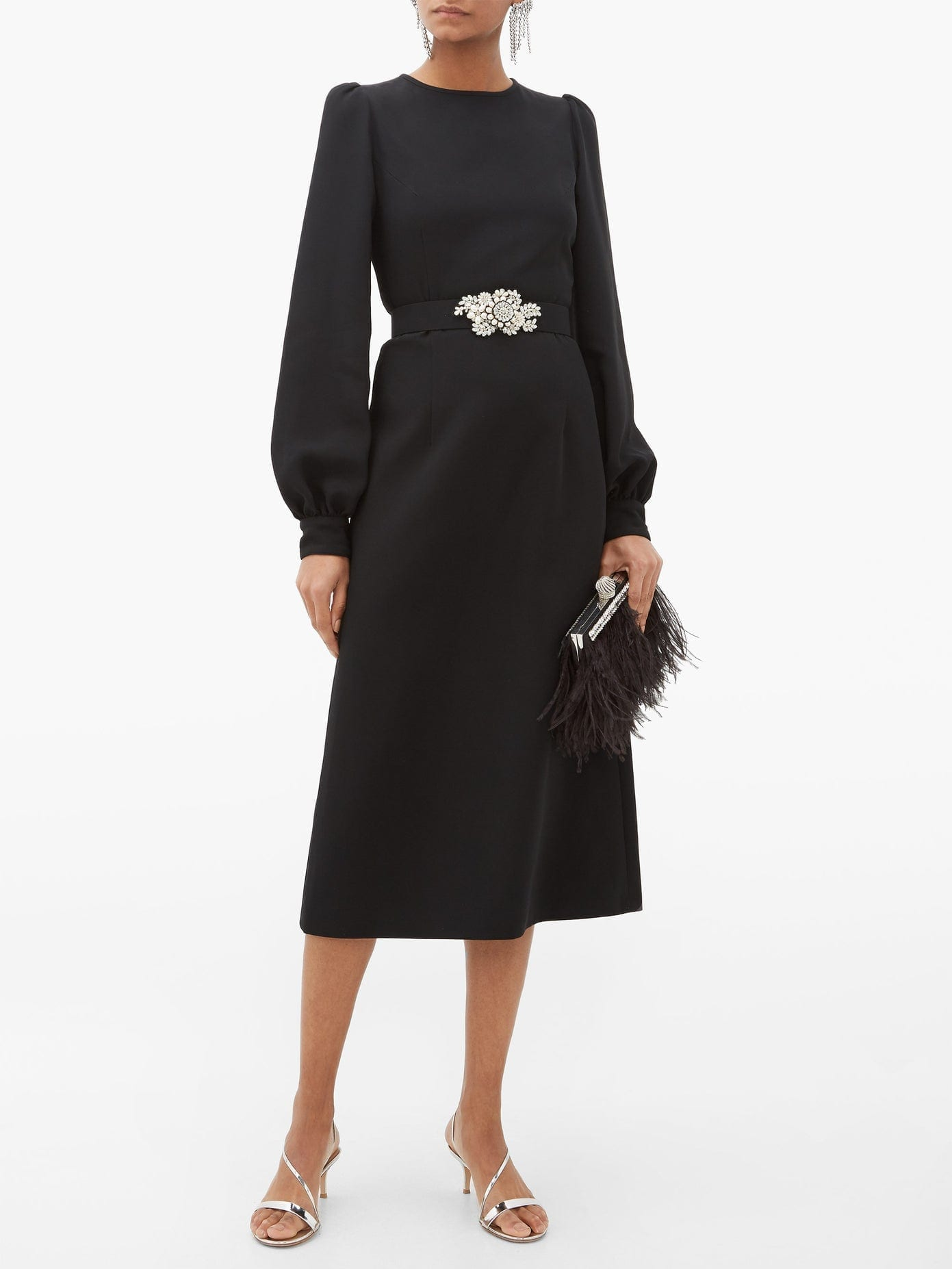 ANDREW GN Balloon Sleeve Crepe Midi Dress