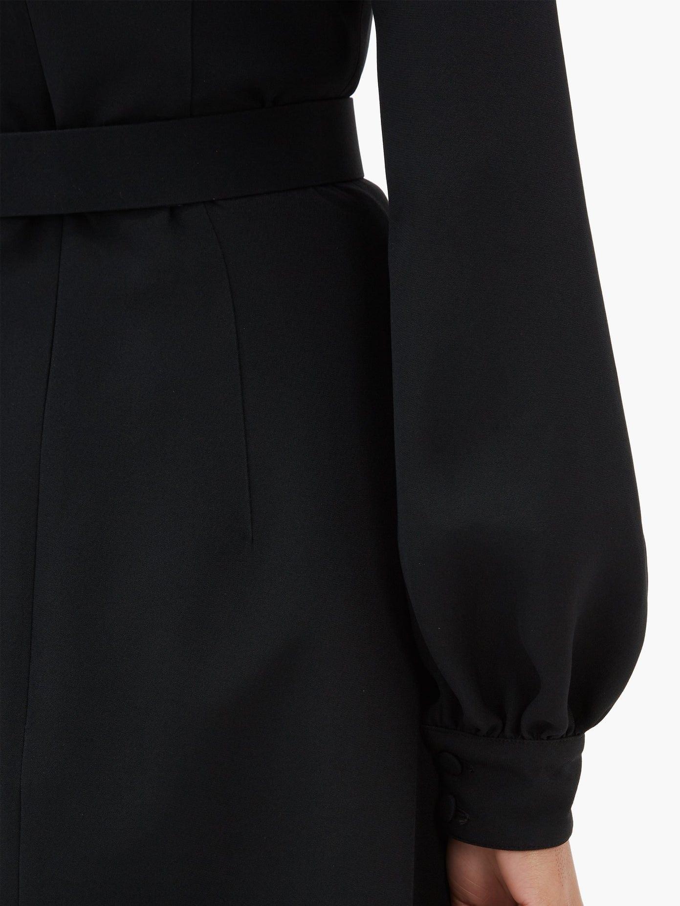 ANDREW GN Balloon Sleeve Crepe Midi Dress