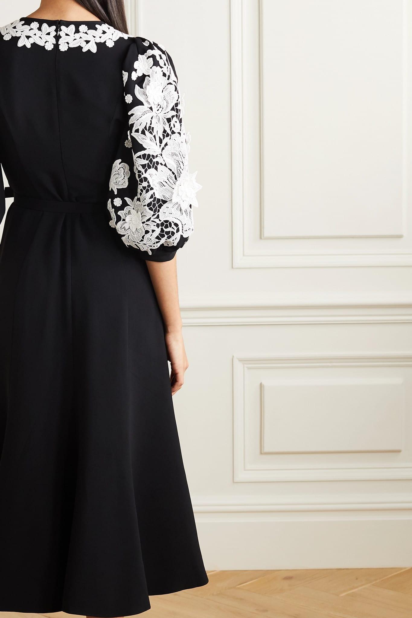 ANDREW GN Belted Appliquéd Crepe Midi Dress